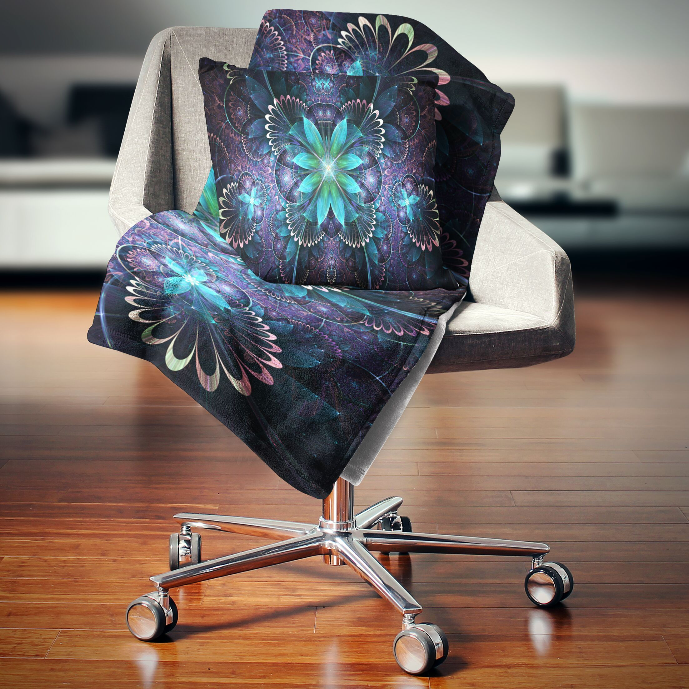 Fractal Flower Digital Art Pillow Size: 16
