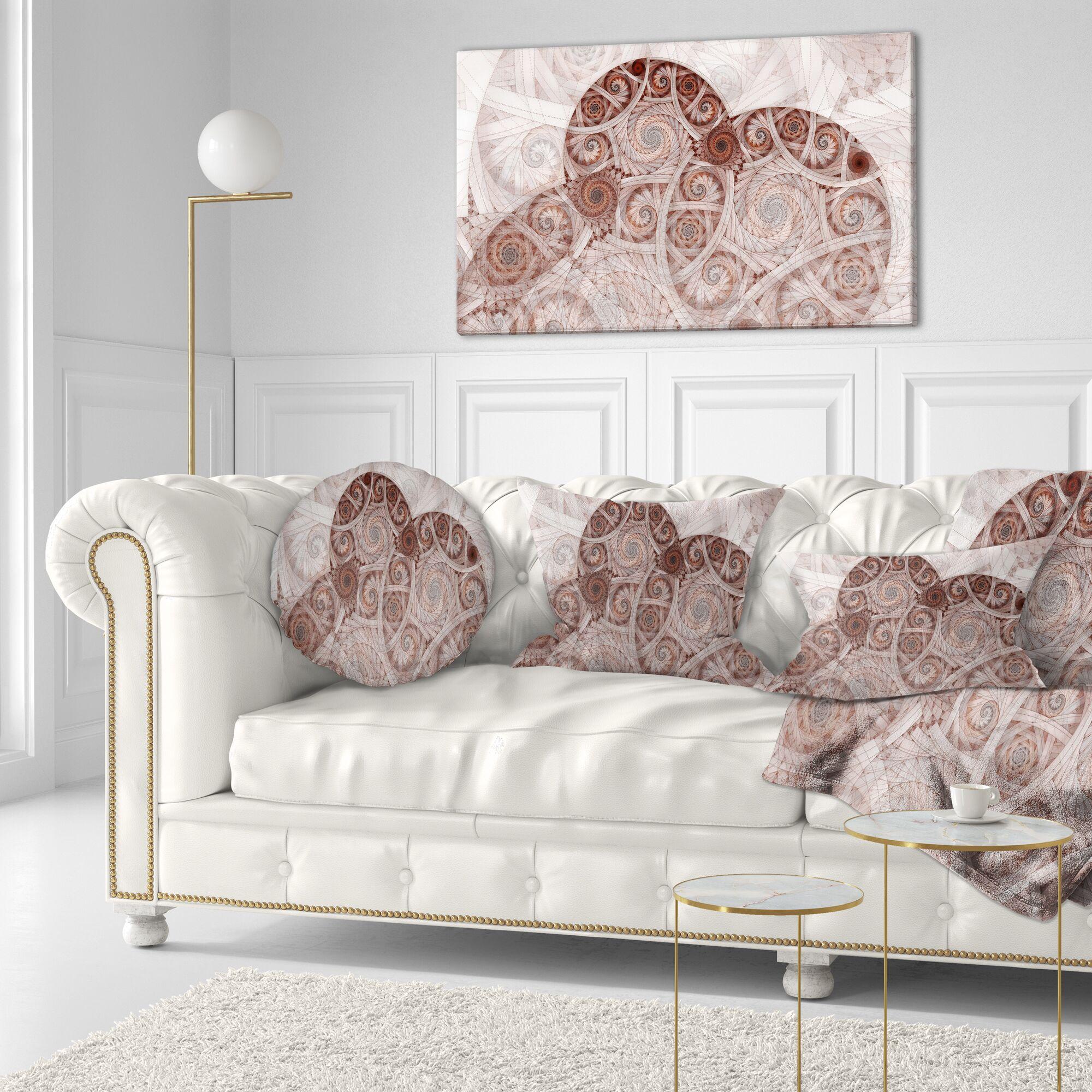 Floral Symmetrical Fractal Flower Spiral Lumbar Pillow