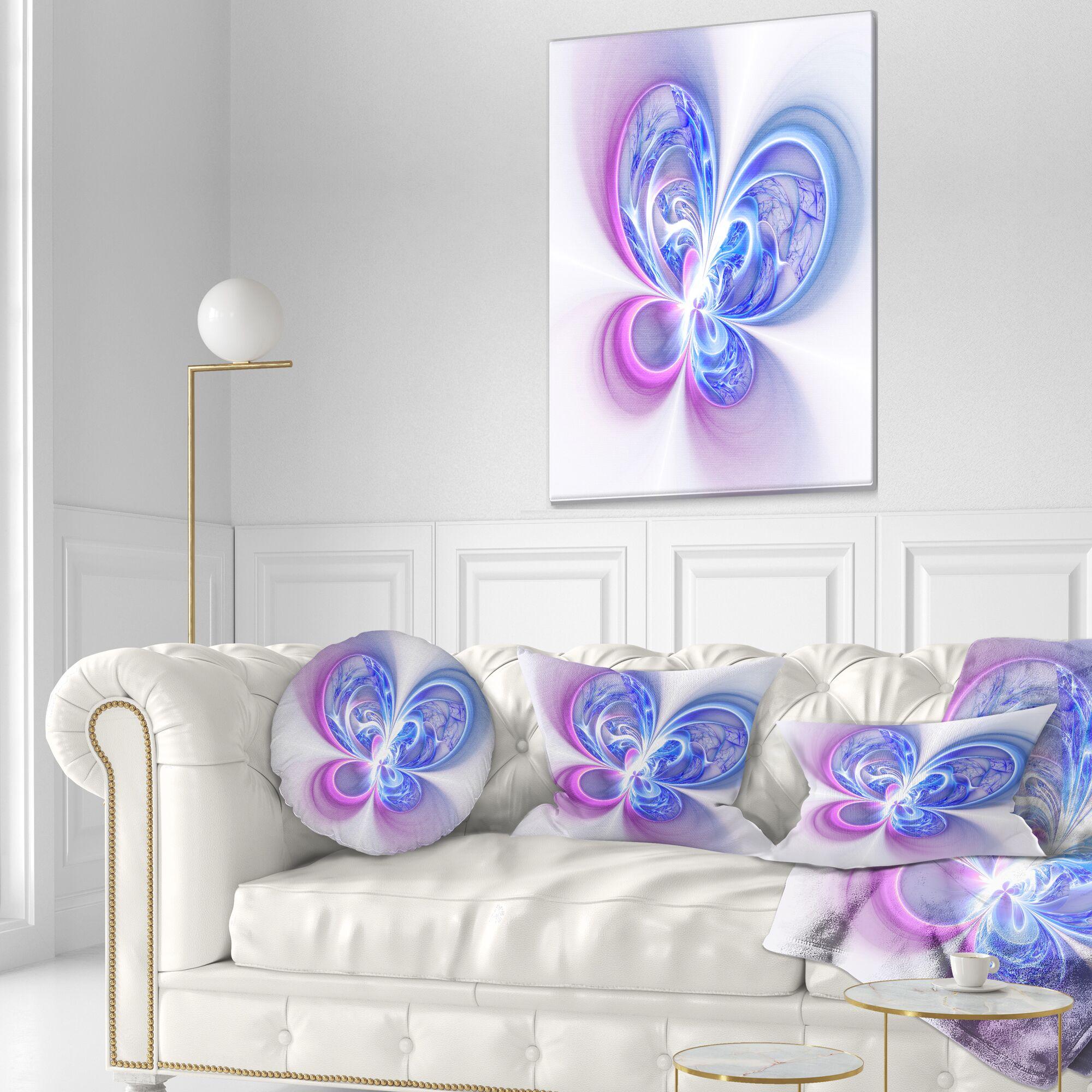 Floral Shiny Digital Fractal Flower Lumbar Pillow
