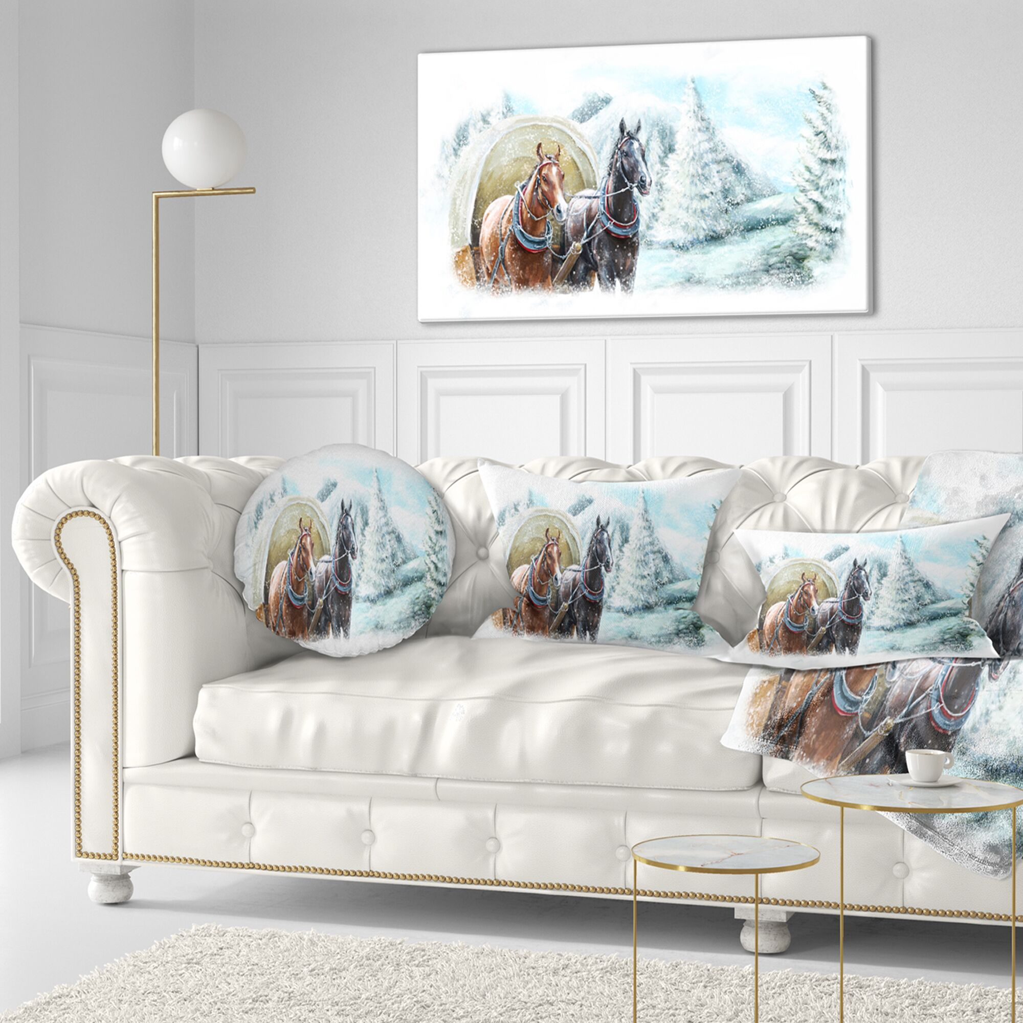 Landscape Printed Painted Scene with Horses in Winter Throw Pillow Size: 16