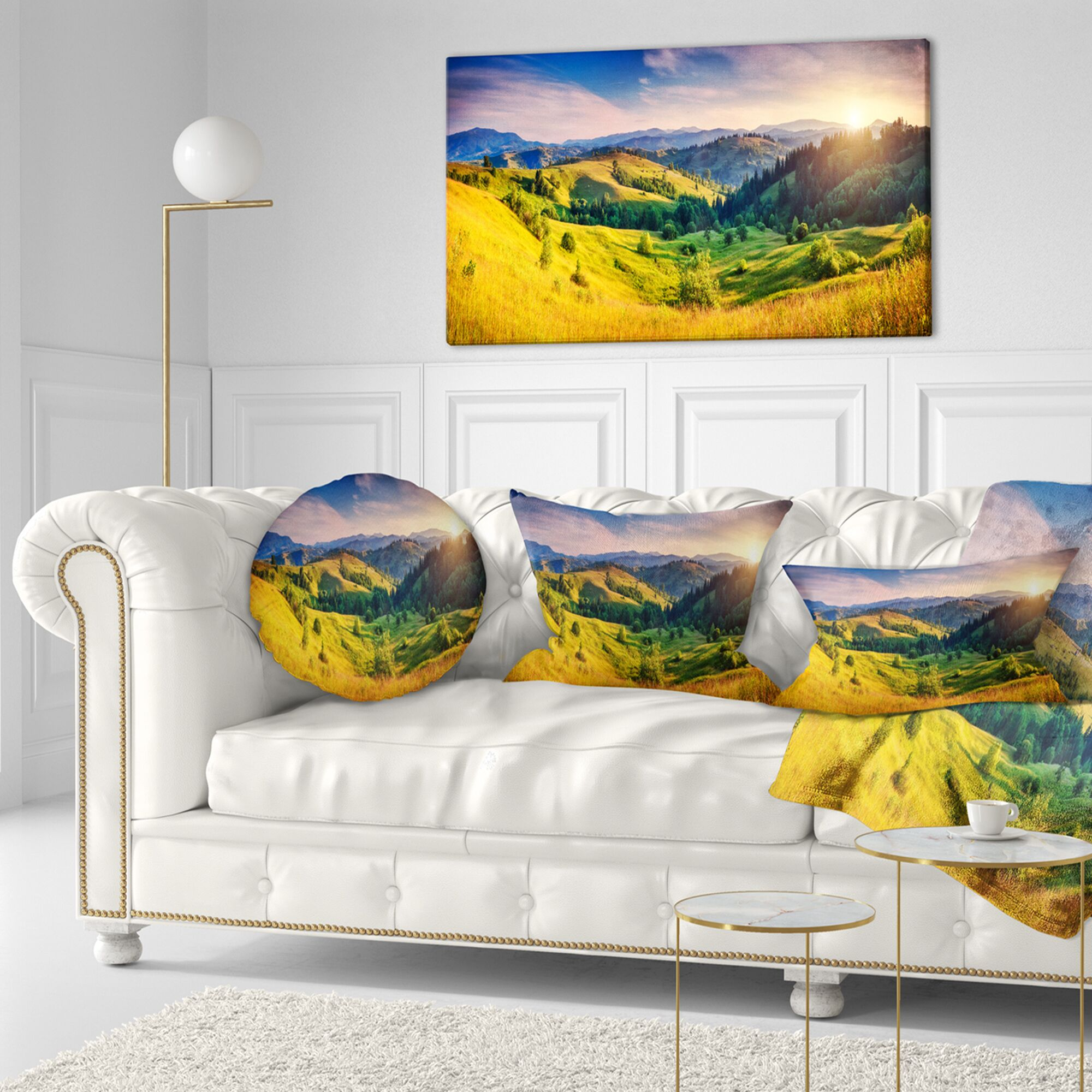 Landscape Printed Hills Glowing by Sunlight Throw Pillow Size: 16