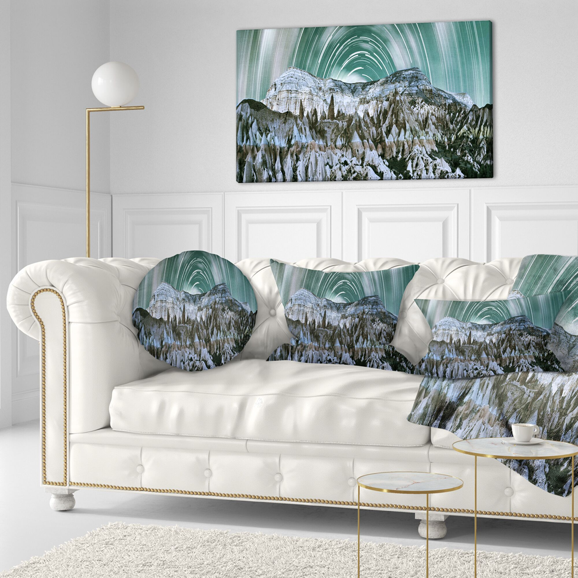Landscape Printed Cappadocia Valley Panoramic View Throw Pillow Size: 16