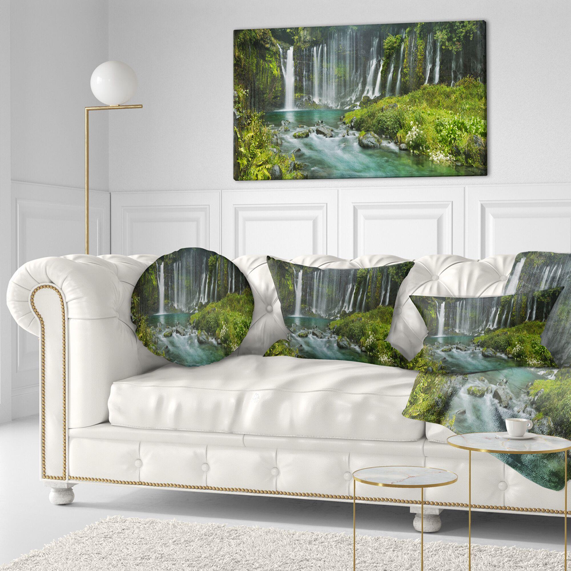 Landscape Printed Shiraito Falls near Mount Fuji Japan Throw Pillow Size: 20