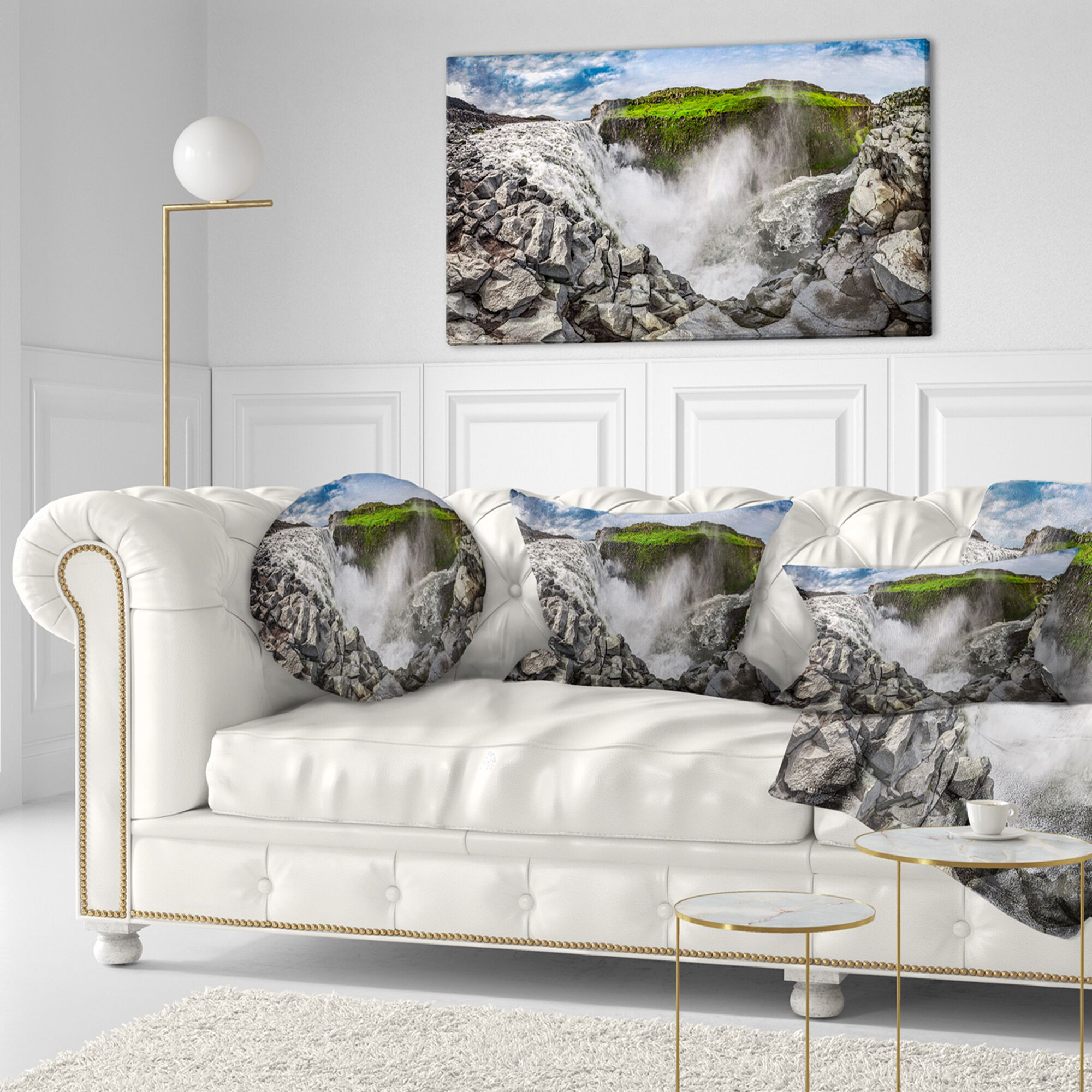 Landscape Printed Rocky Dettifoss Waterfall in Iceland Throw Pillow Size: 20