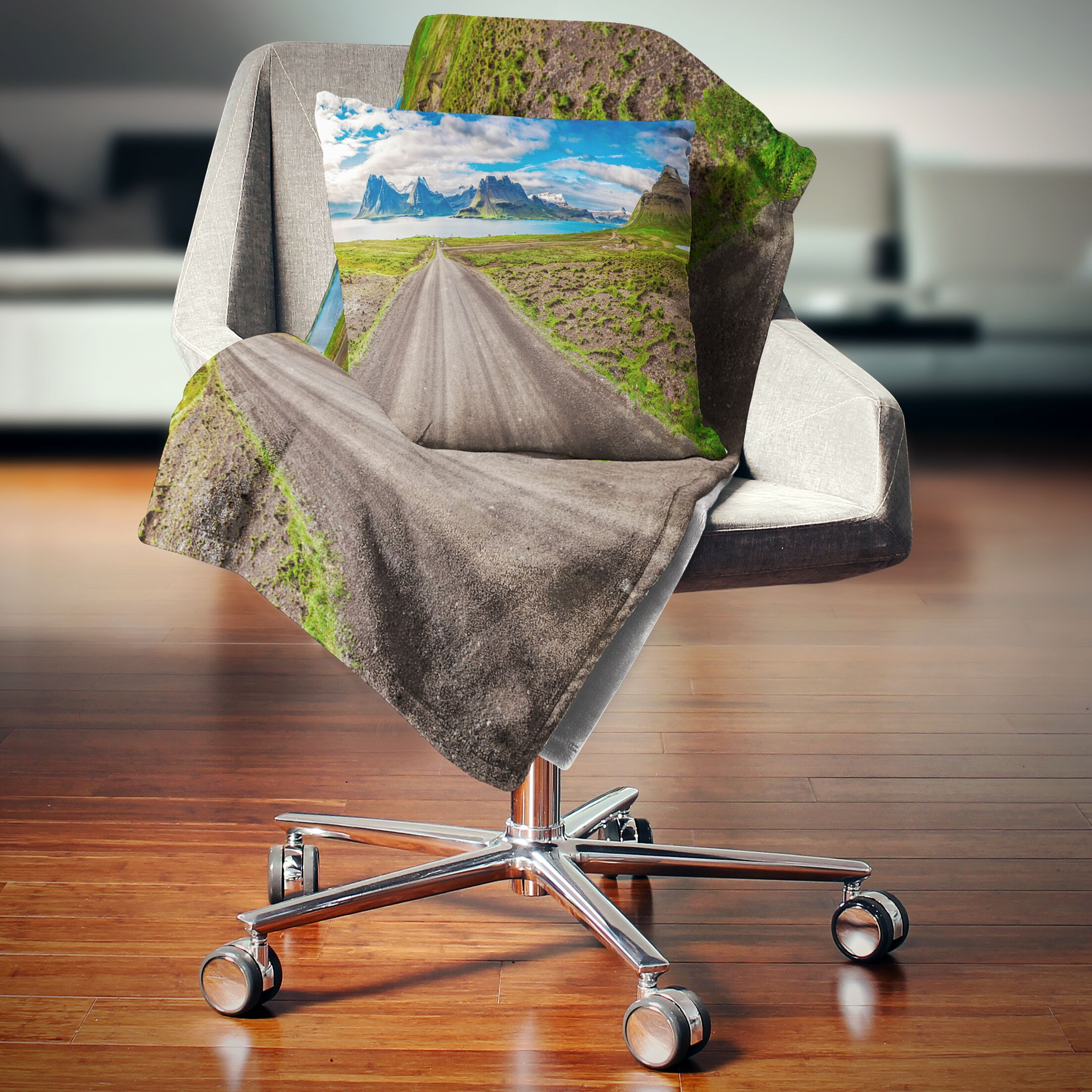 Landscape Printed Peaks and Fjords Panoramic View Pillow Size: 18