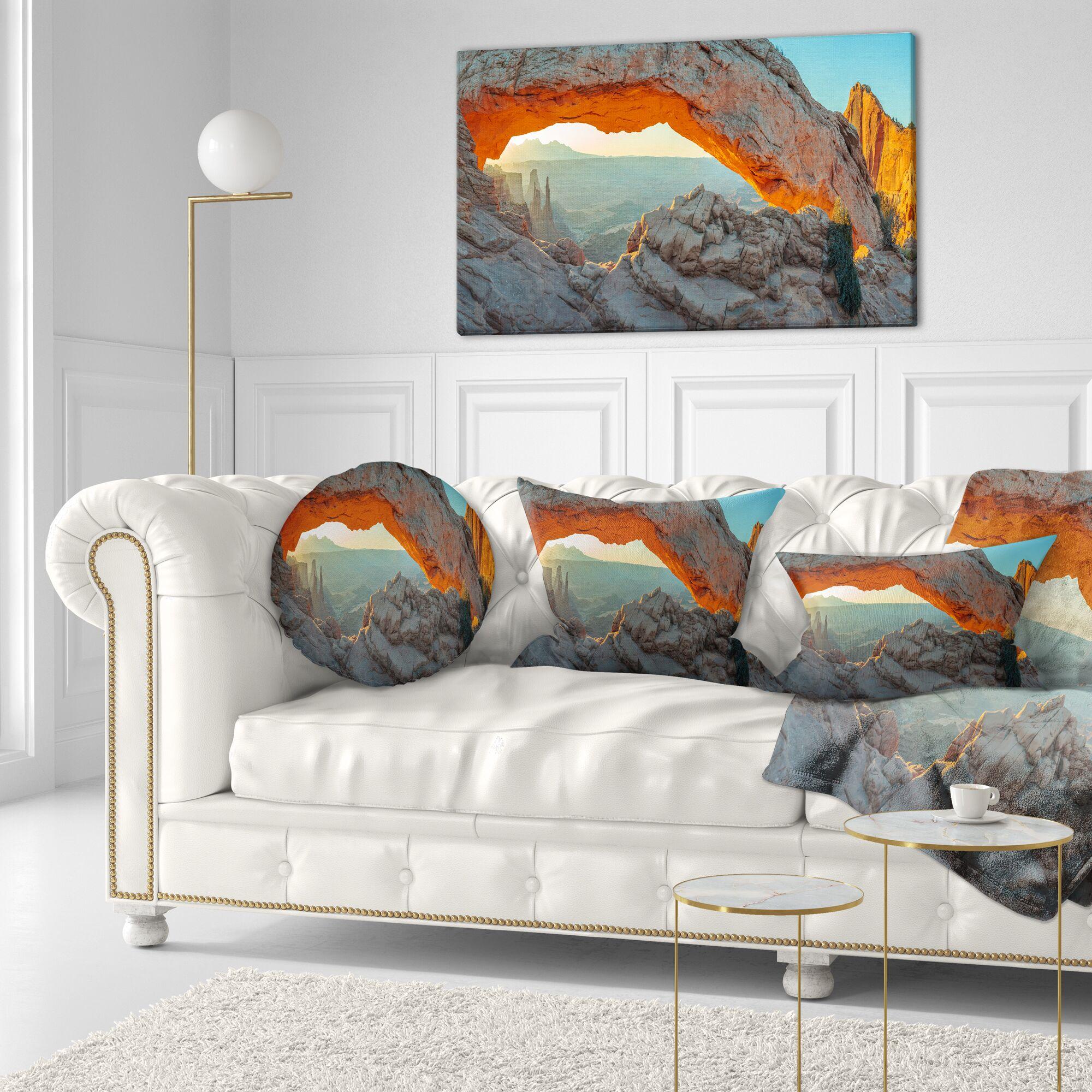 Landscape Printed Mesa Arch Canyon lands Utah Park Throw Pillow