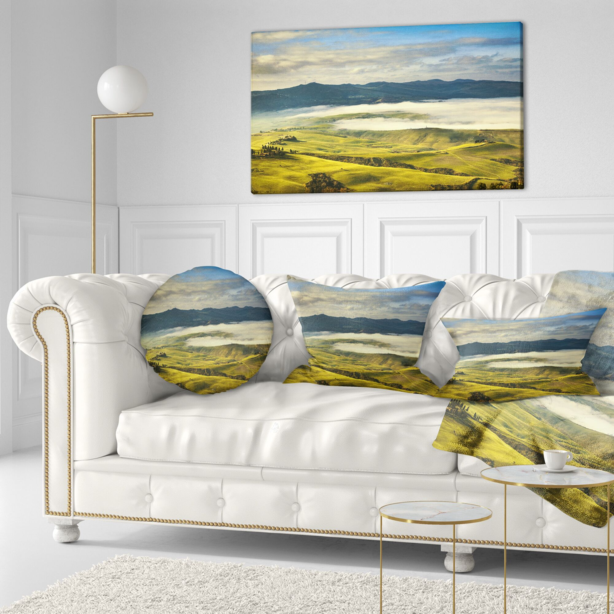 Landscape Wall Tuscany Farmland and Fields Throw Pillow Size: 16