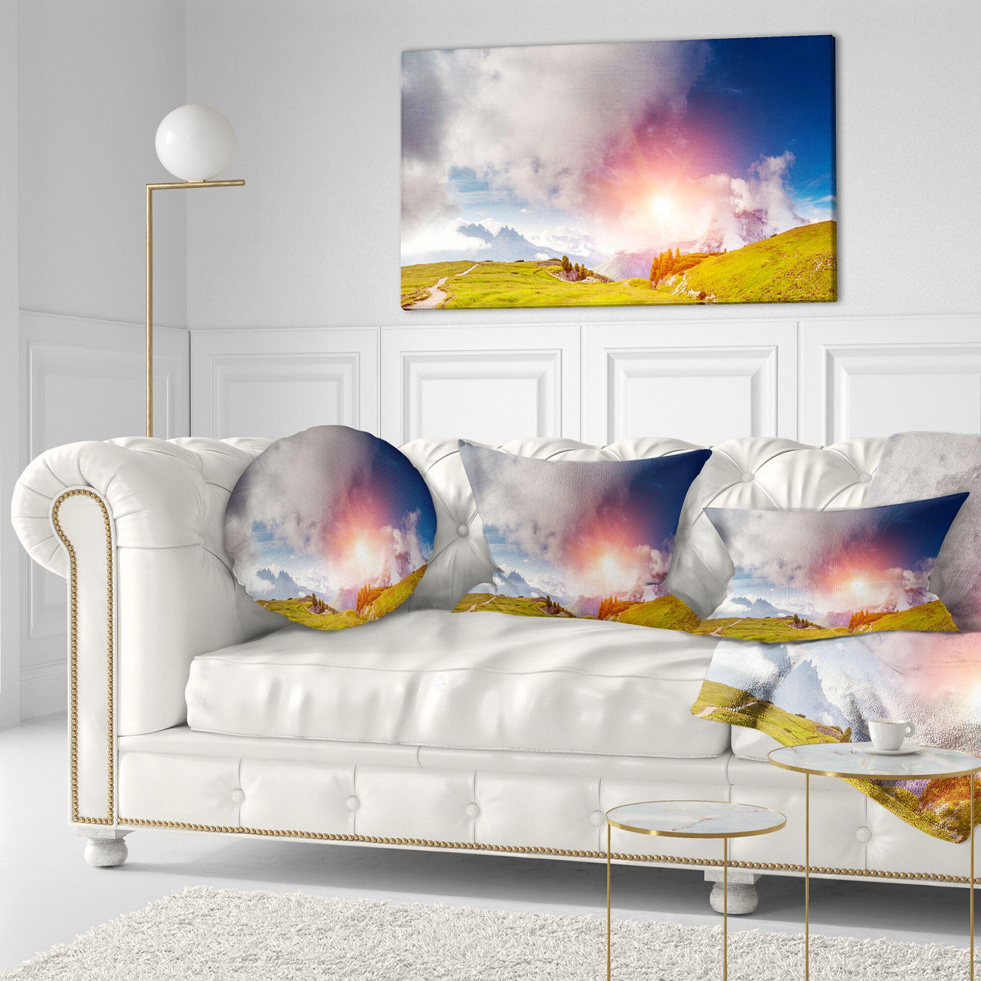 Landscape Printed Cadini di Misurina Range at Sunset Lumbar Pillow
