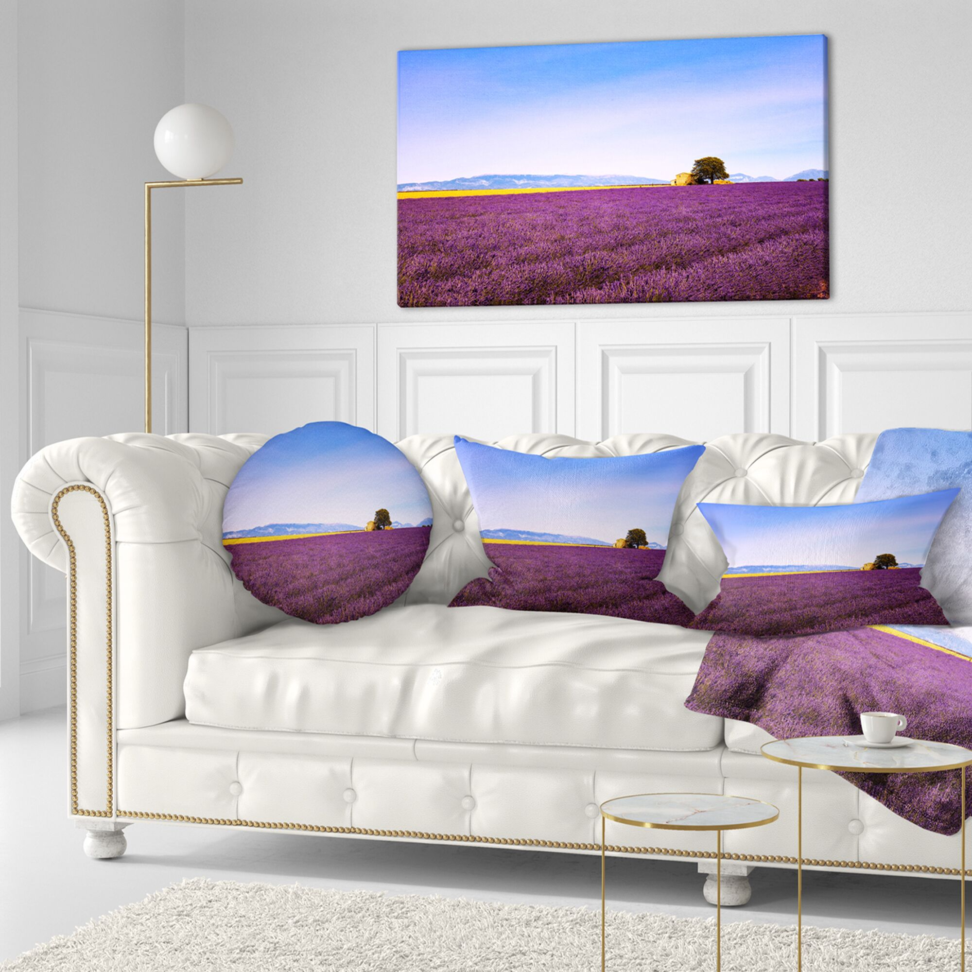 Landscape Wall Lavender Flowers with Old House Lumbar Pillow