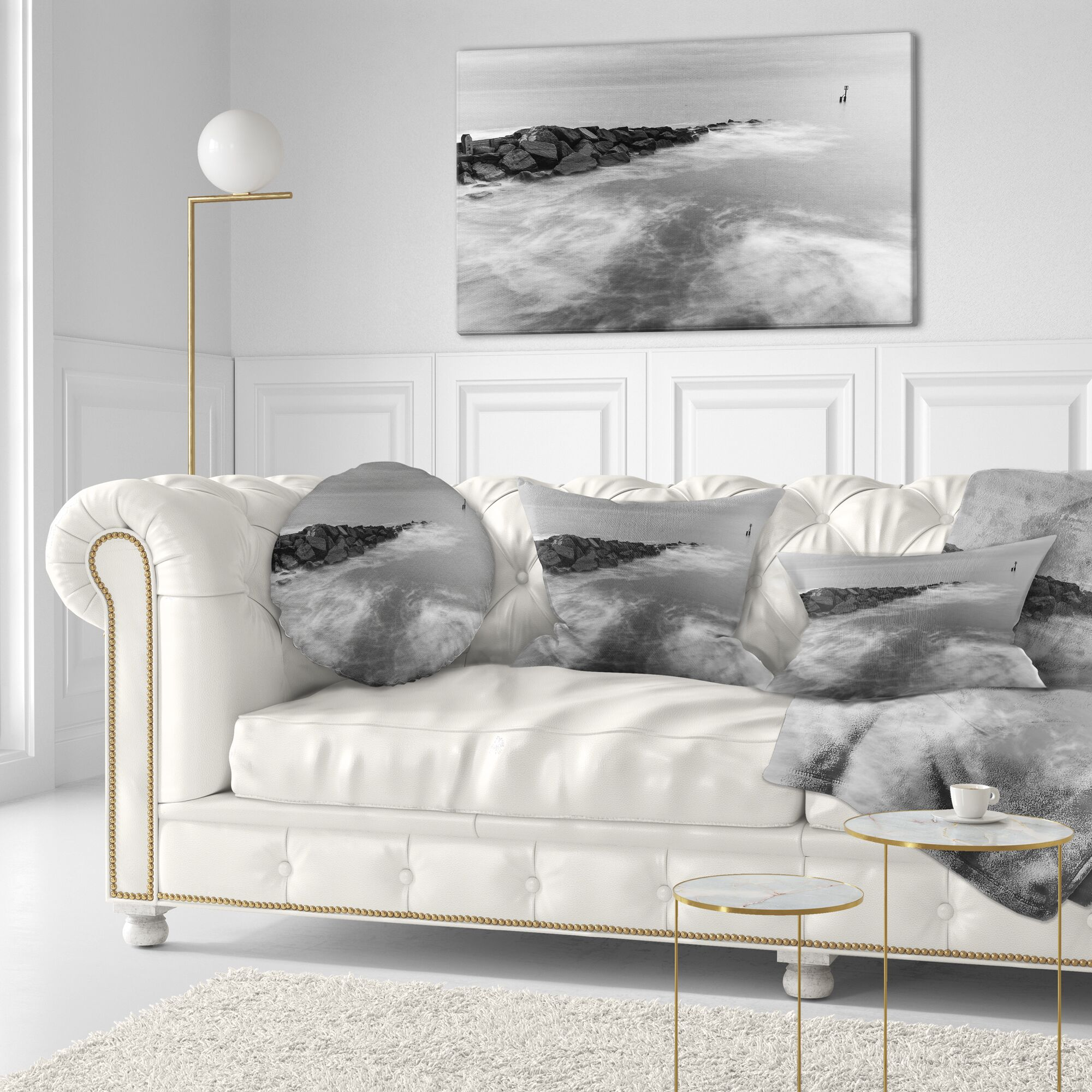 Seascape Milky Waves Splashing Over Rocks Throw Pillow Size: 16