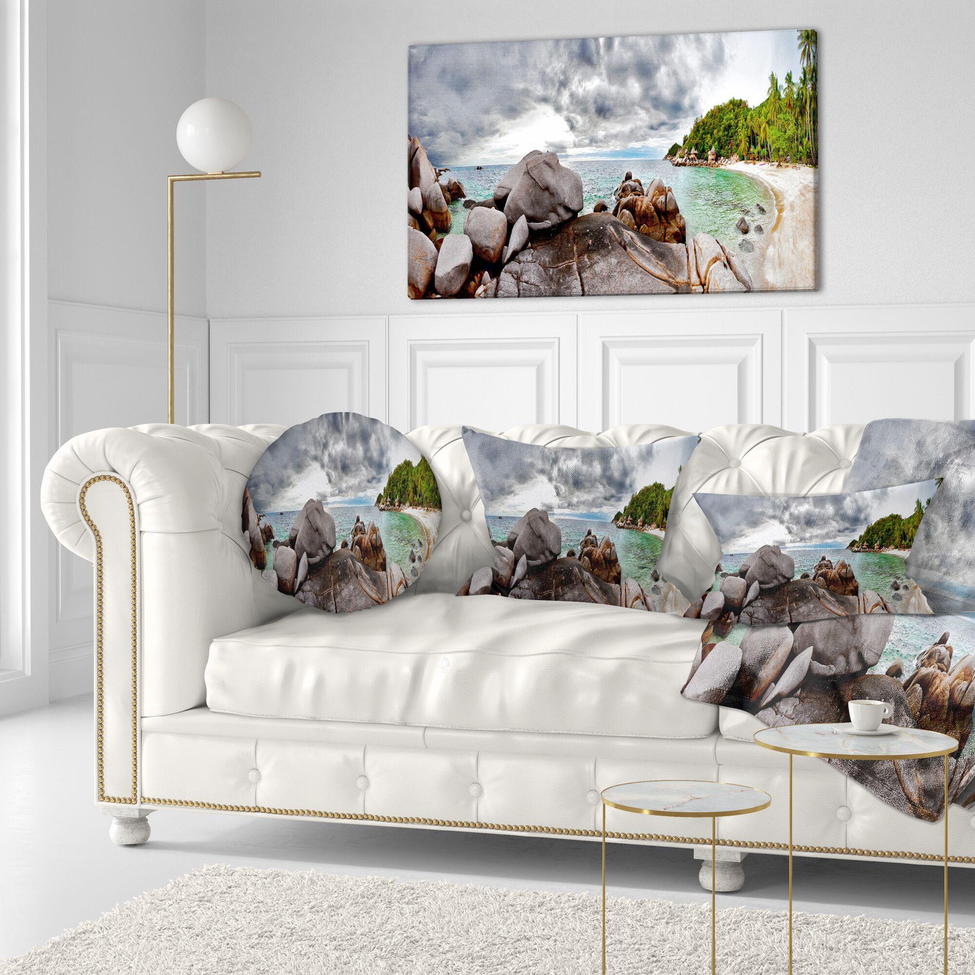 Seascape Exotic Tropical Beach Under Sky Lumbar Pillow