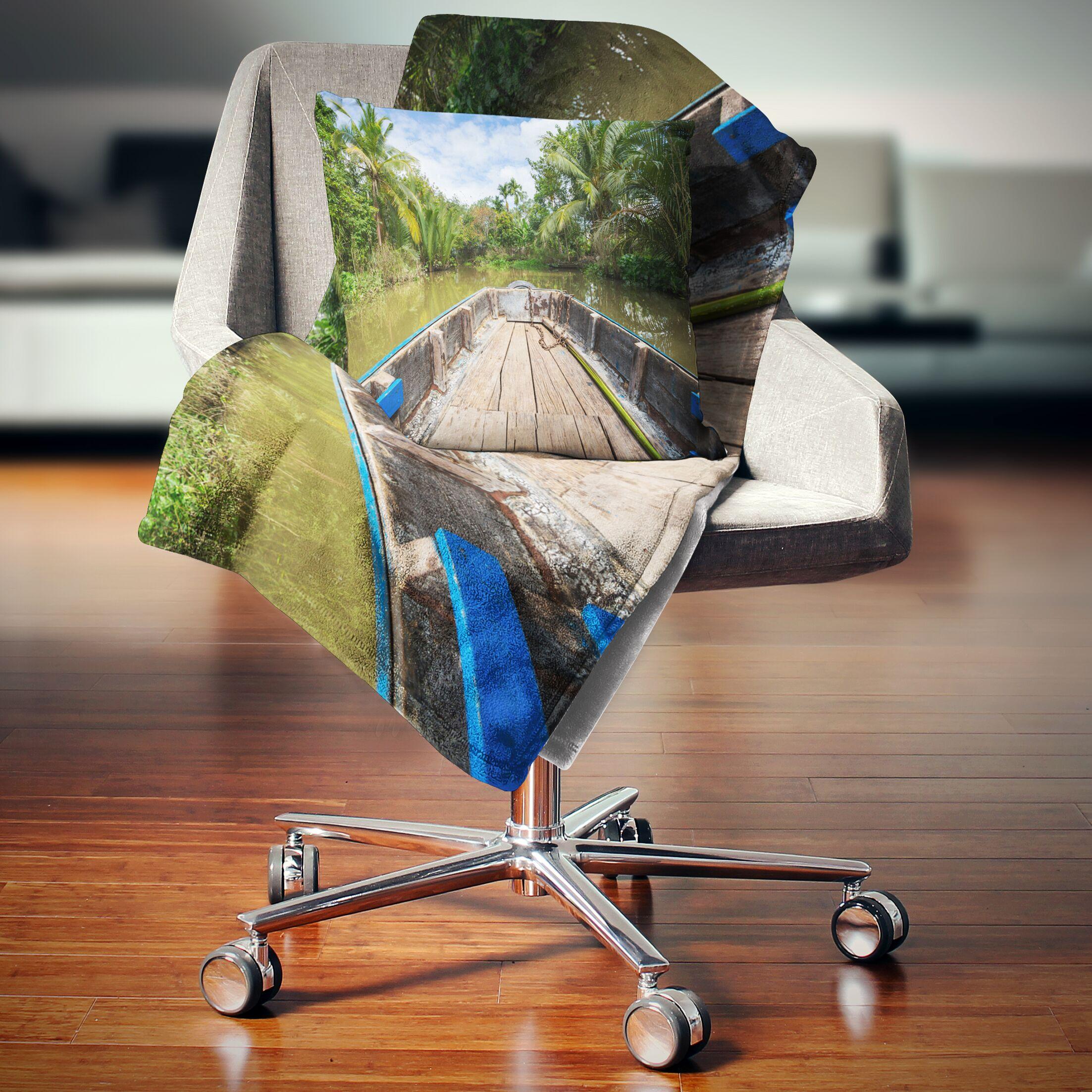 Landscape Boat in Mekong River Vietnam Pillow