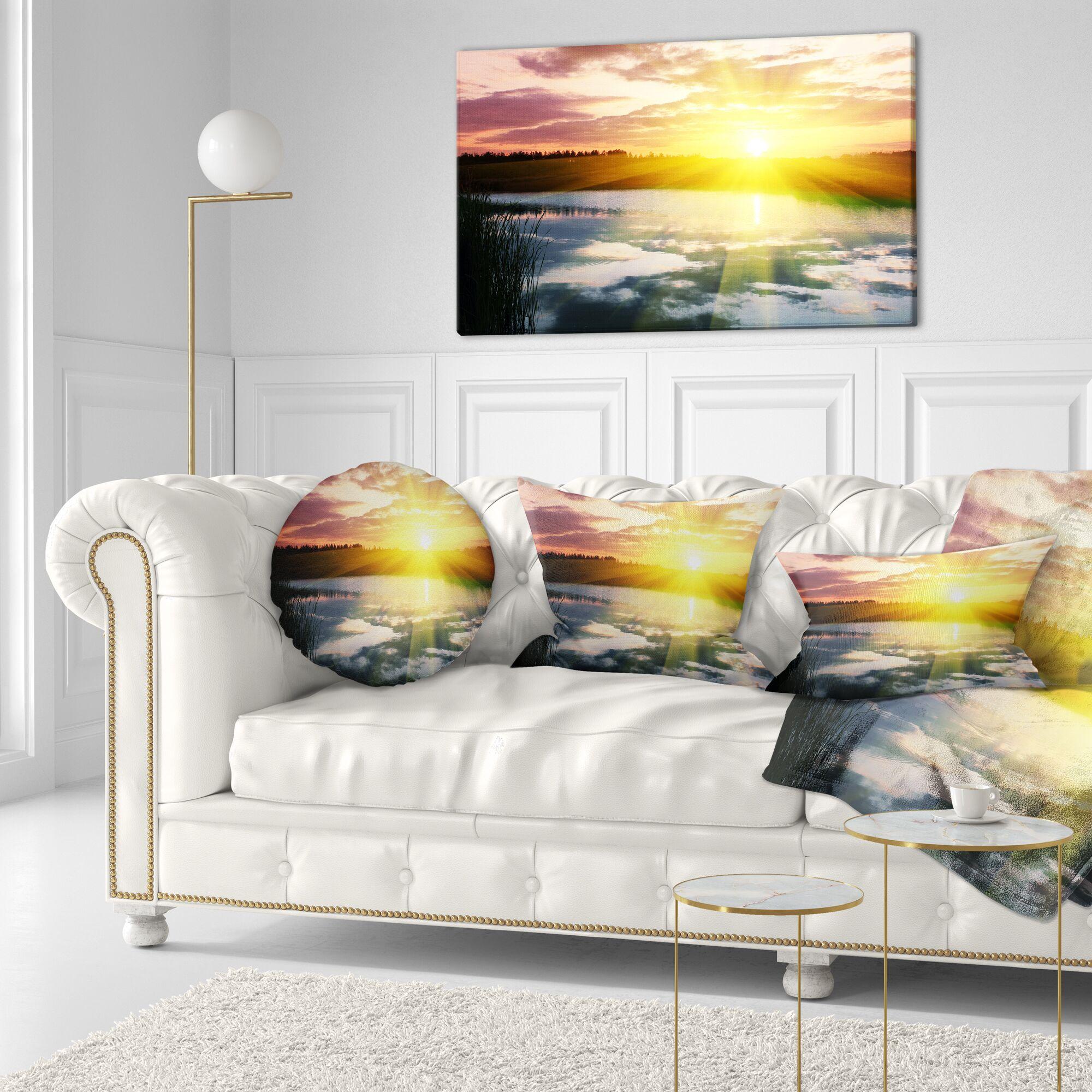Seashore Bright Sunrise over Lake Lumbar Pillow