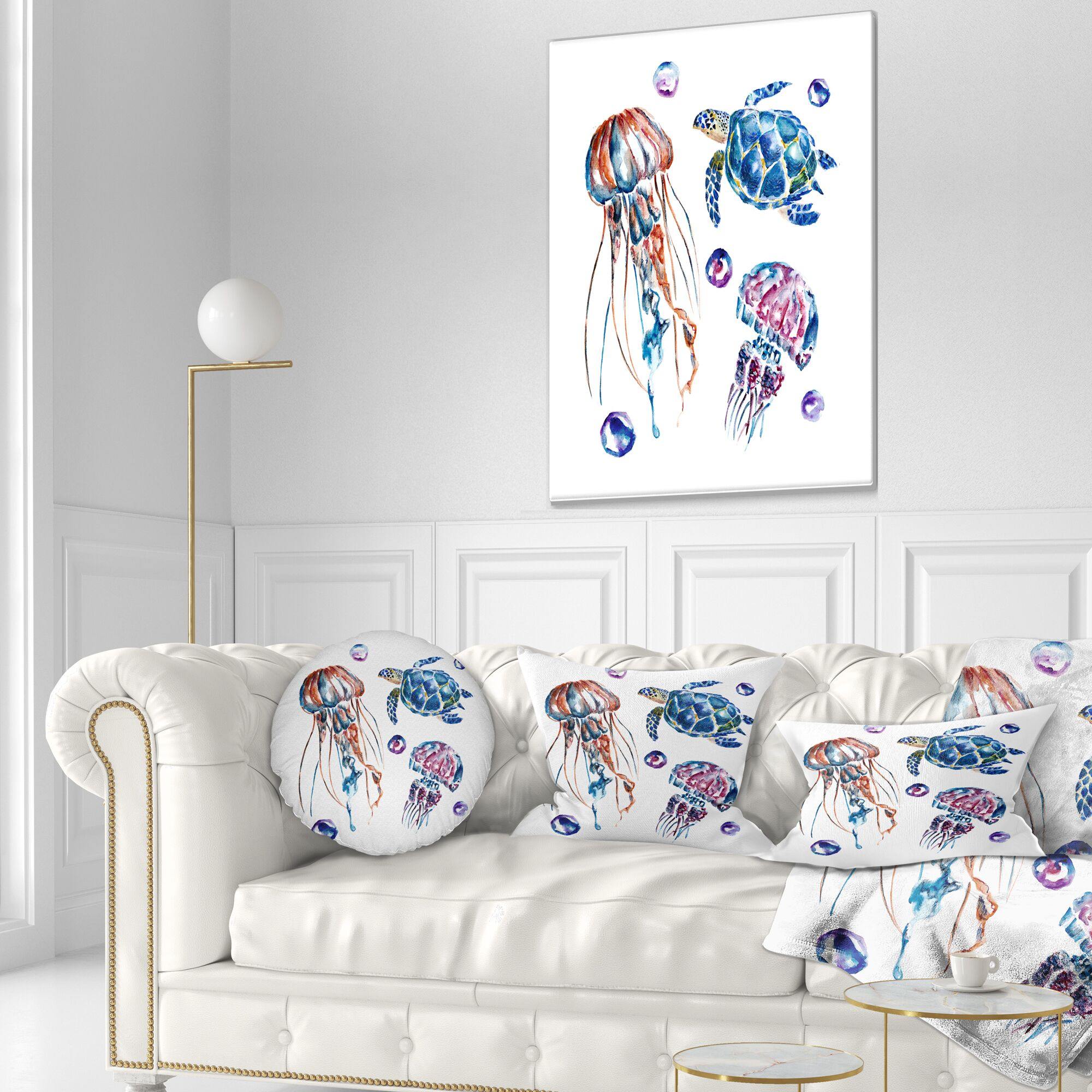 Animal Colorful Jellyfish and Turtles Throw Pillow Size: 20