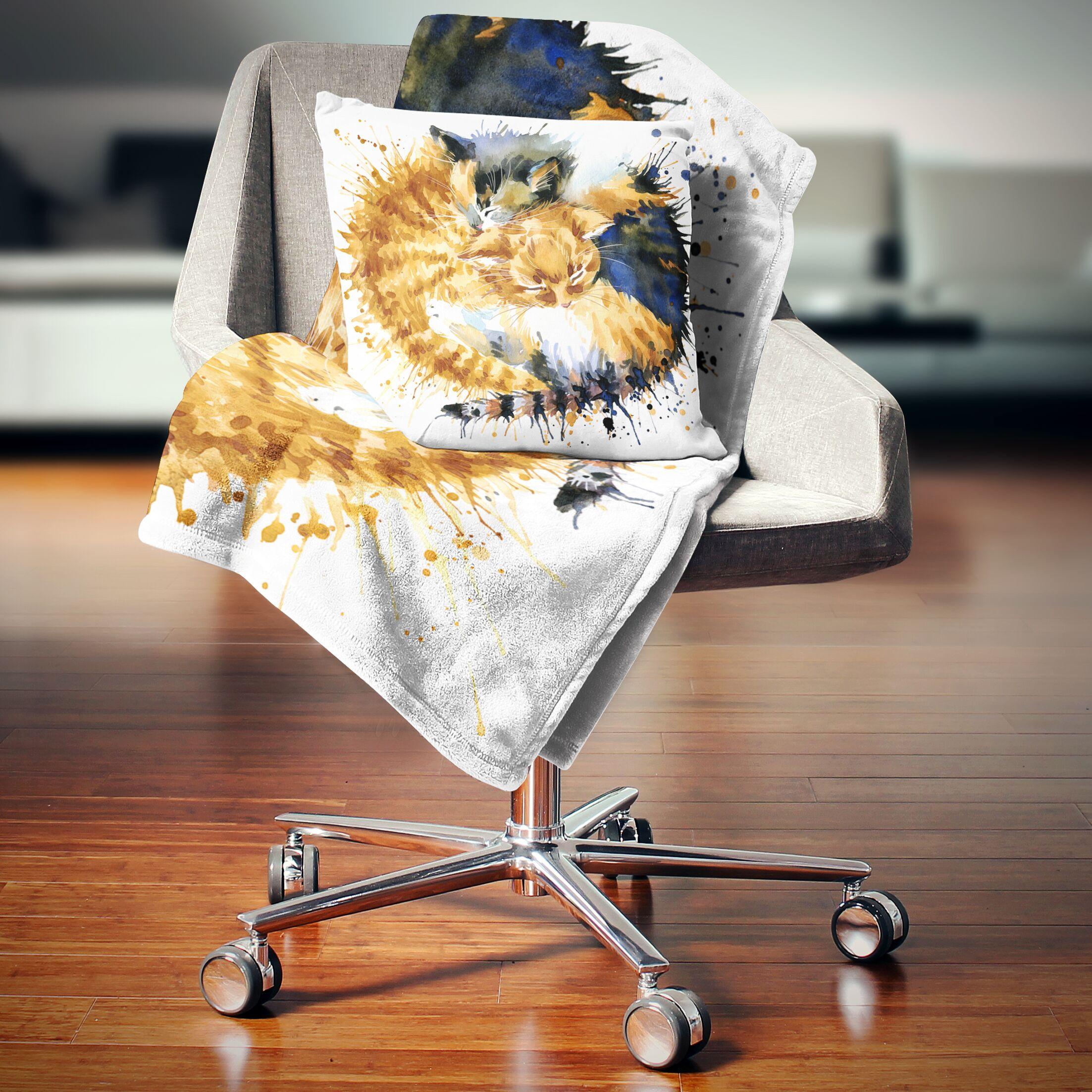 Animal Cute Kitten Graphical Illustration Pillow Size: 16