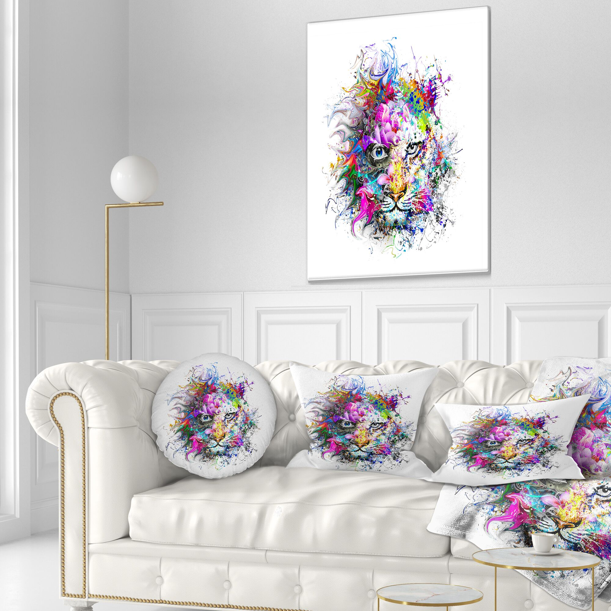 Abstract Tiger Face in Colorful Splashes Throw Pillow Size: 16