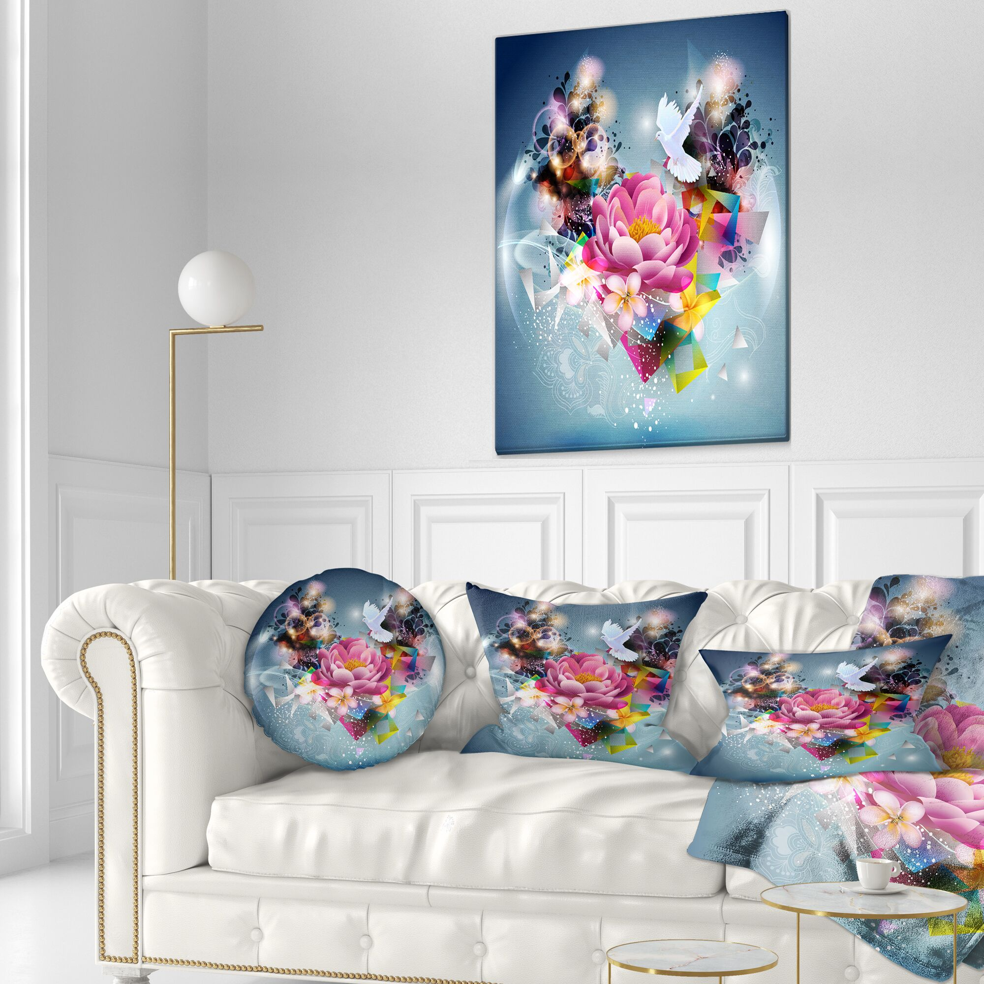 Floral Flowers and Dove Abstract Design Throw Pillow Size: 20