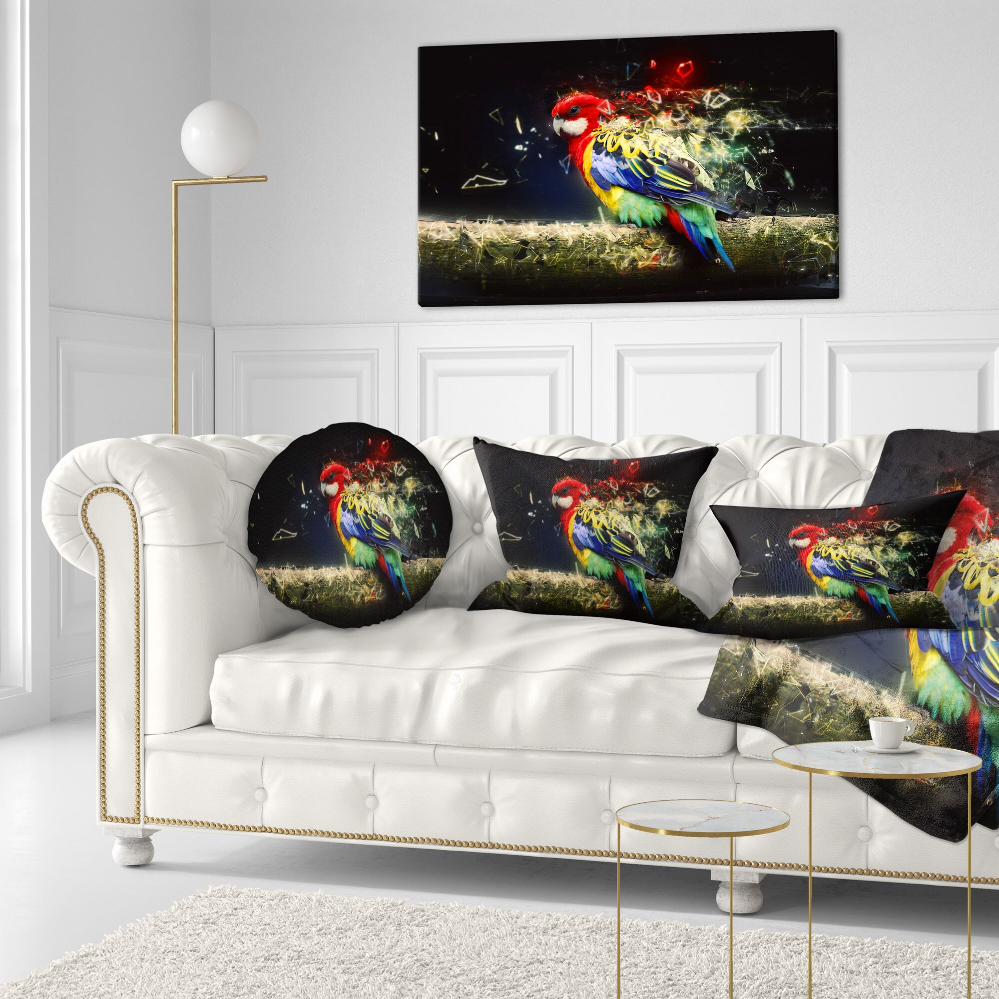 Animal Colorful Parrot on Branch Throw Pillow Size: 16