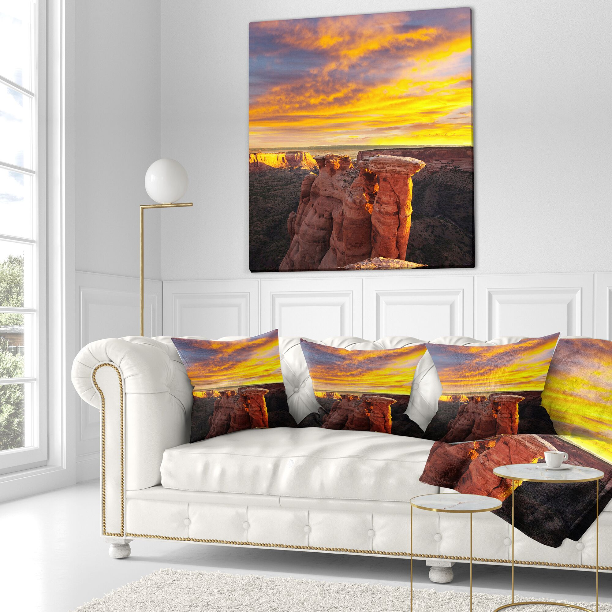 Landscape Printed Colorado Monument at Sunset Pillow Size: 26