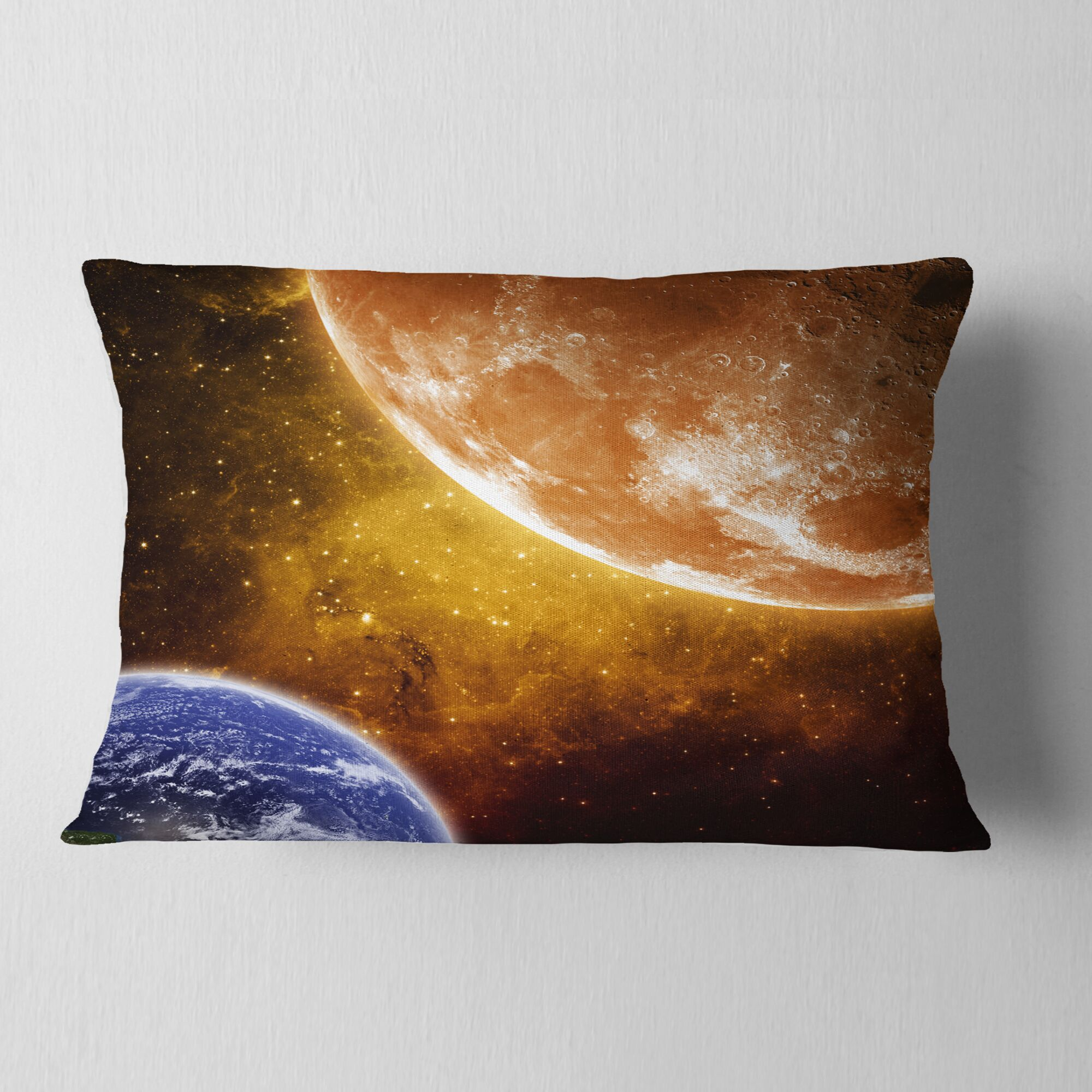 Spacescape Earth and Moon Lumbar Pillow