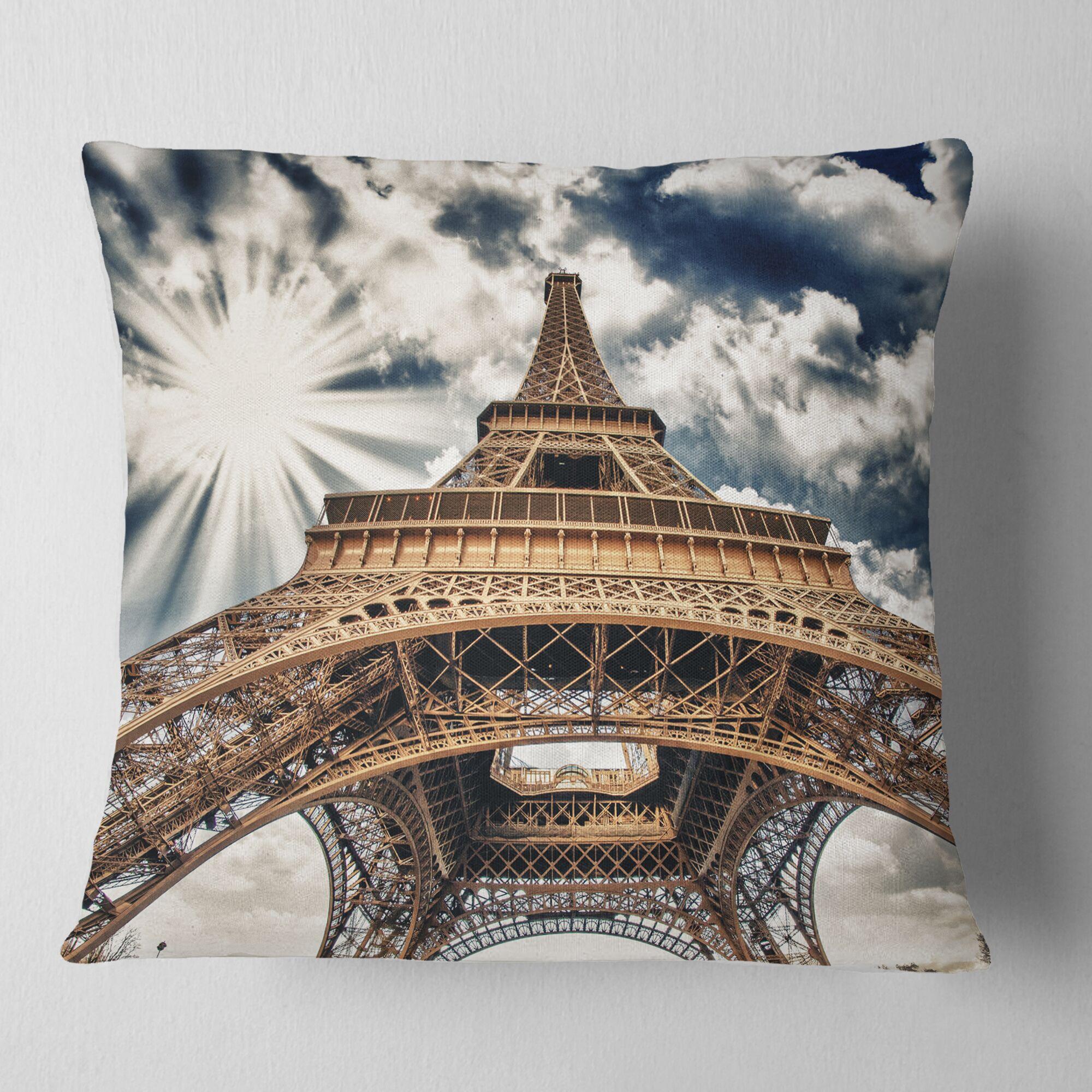 Cityscape Fisheye View of Paris Eiffel Tower Pillow Size: 18