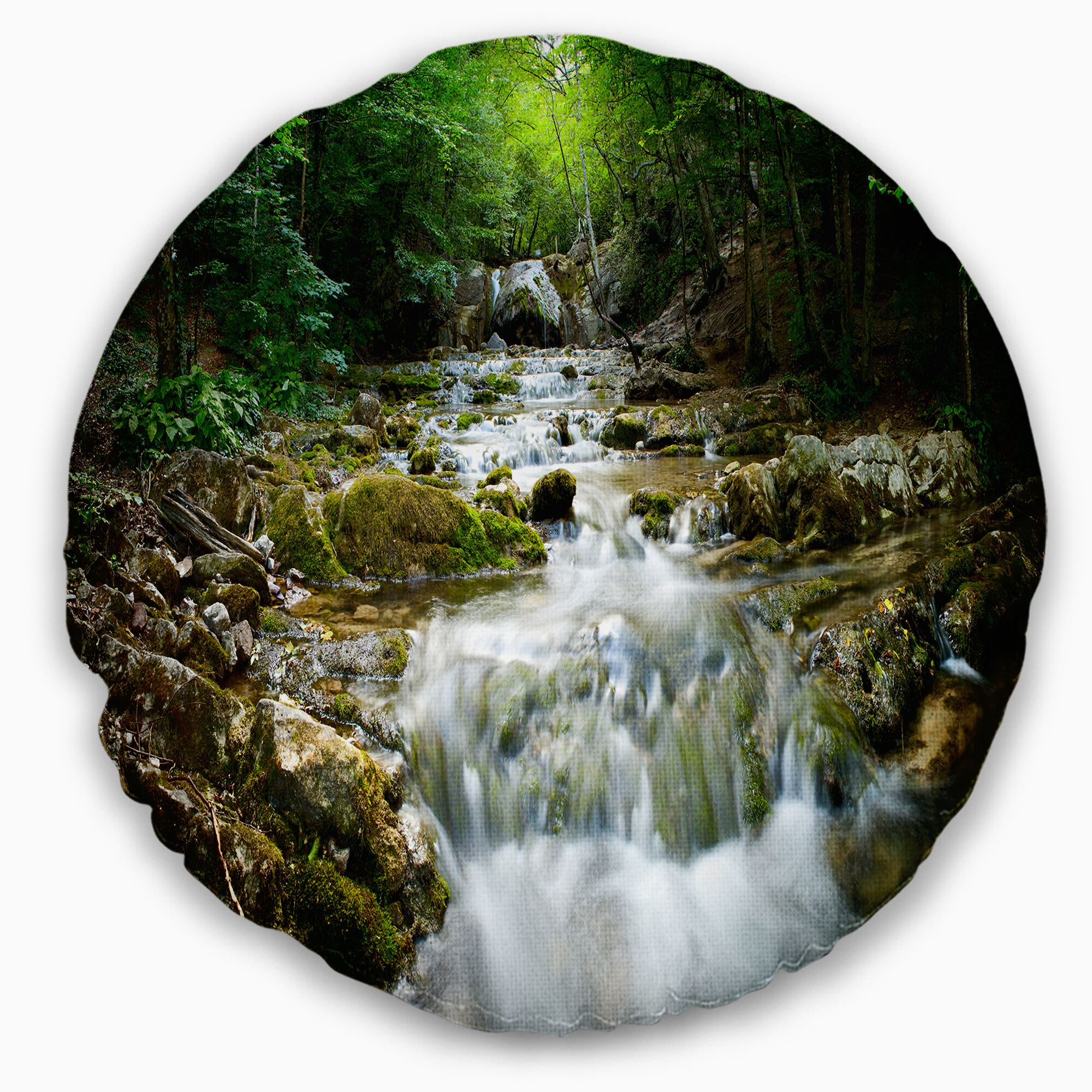 Landscape Natural Spring Waterfall Throw Pillow