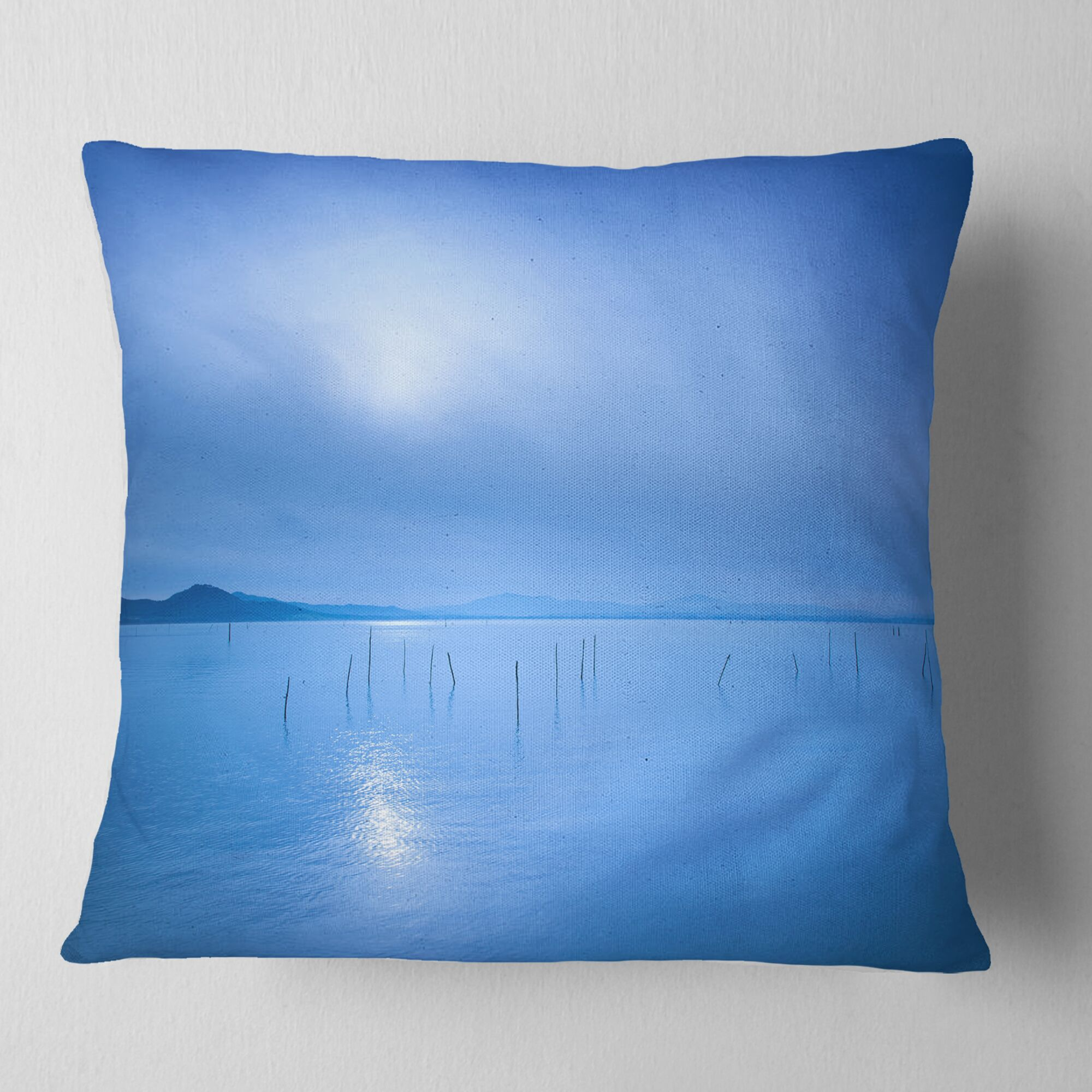 Seascape Water Surface in the Morning Pillow Size: 18
