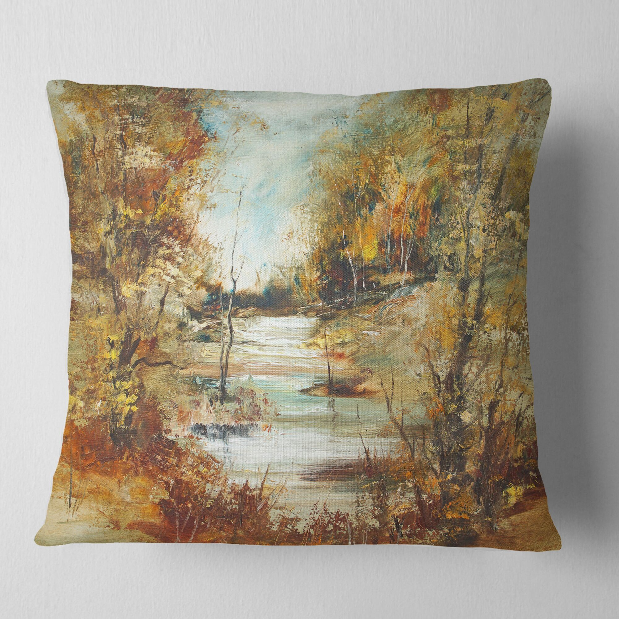 Landscape River in Forest Pillow Size: 16