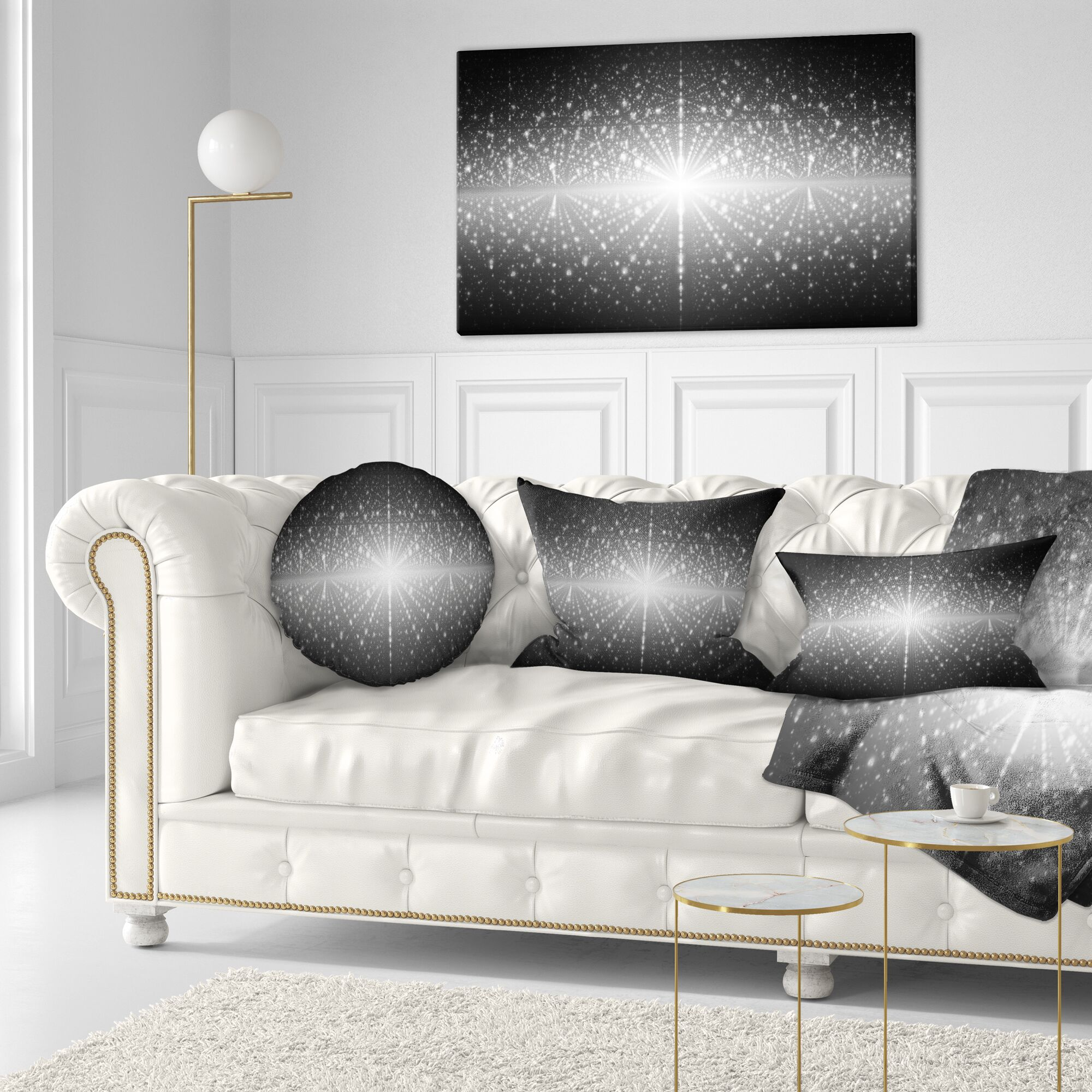 Abstract Cosmic Galaxy with Shining Stars Throw Pillow Size: 16