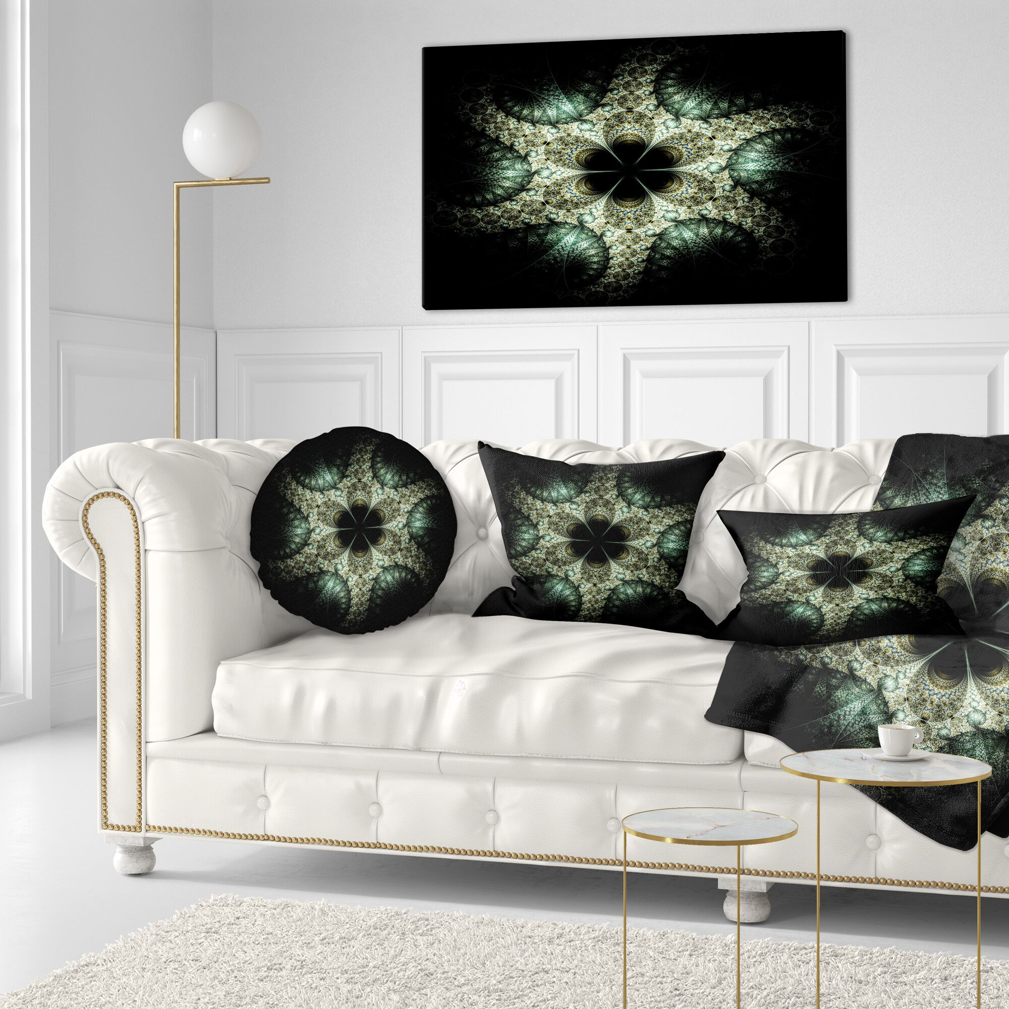 Abstract Fractal Flower Throw Pillow Size: 20
