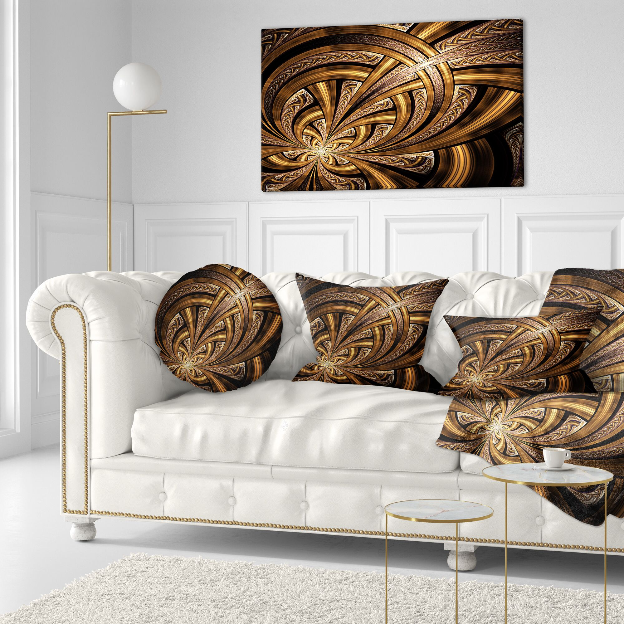 Abstract Fractal Flower Throw Pillow Size: 16