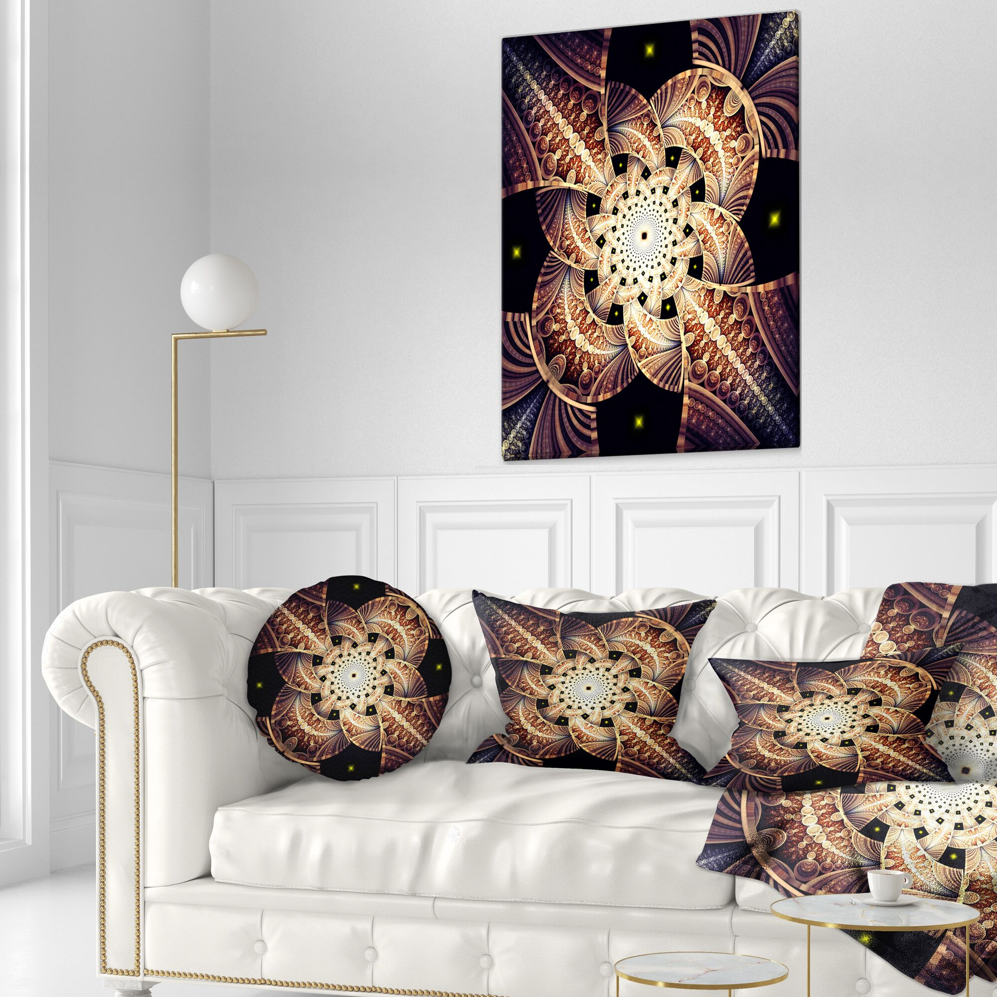 Floral Symmetrical Fractal Flower Lumbar Pillow