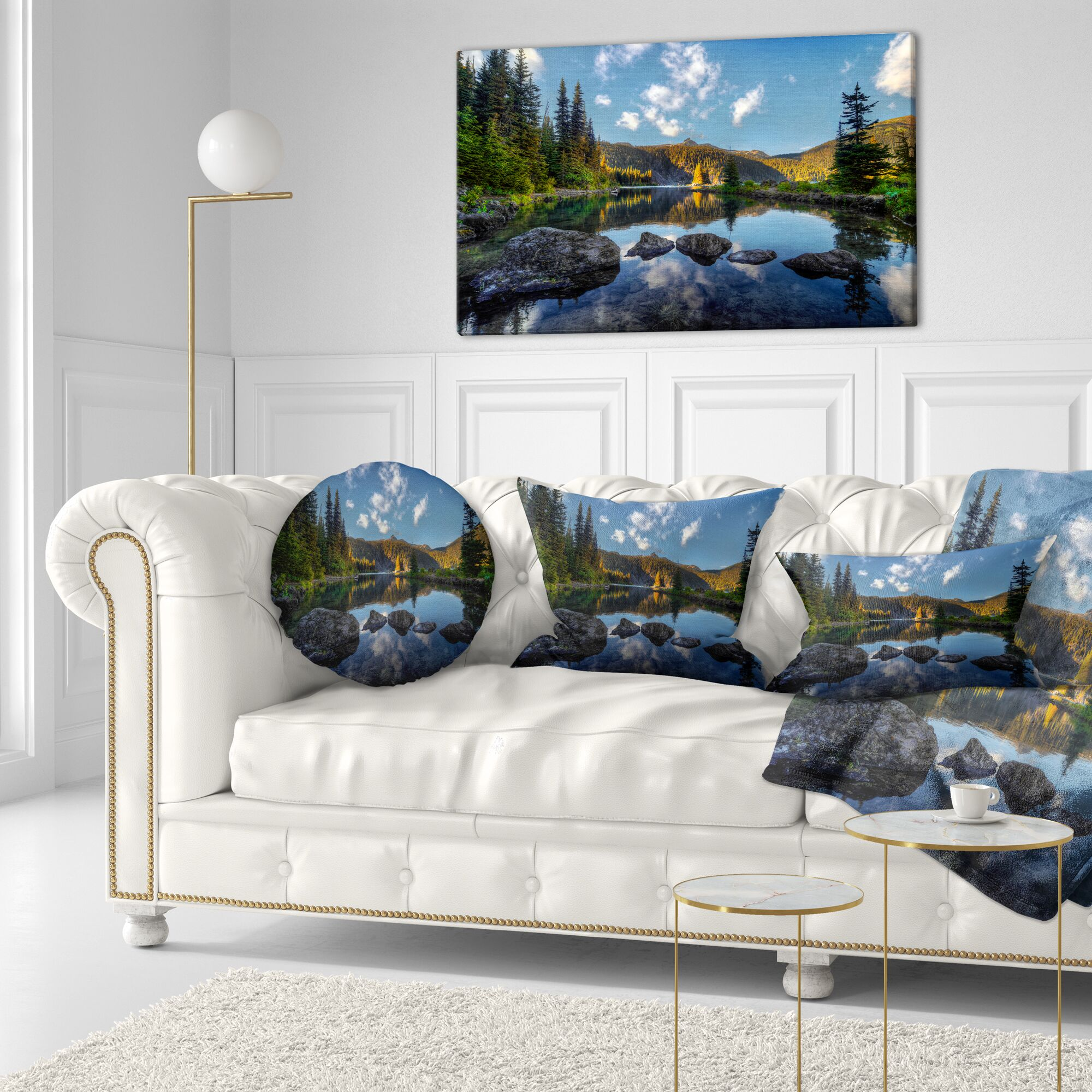 Landscape Mountain Lake Surrounded by Trees Lumbar Pillow