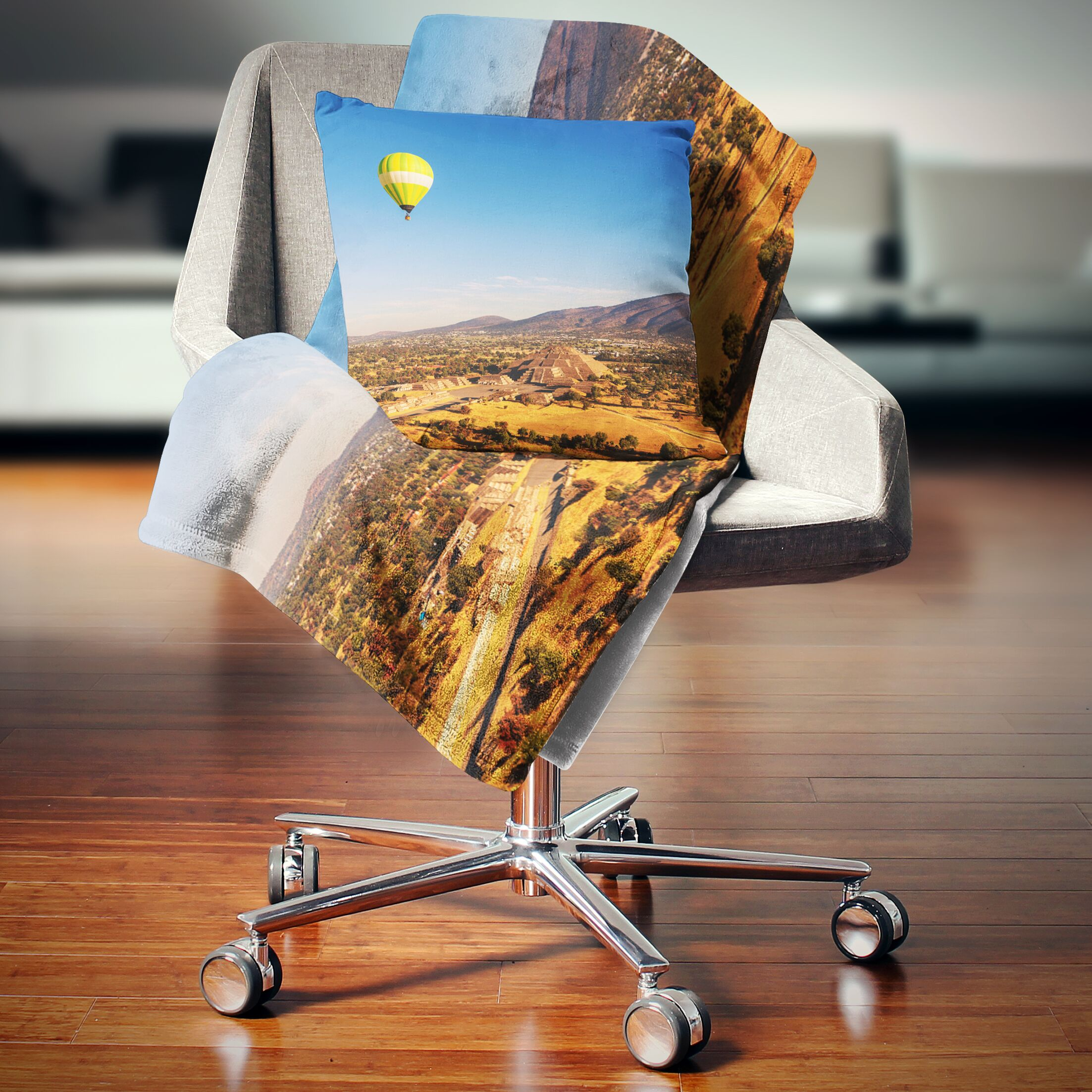 Landscape Printed Large Balloon over Mountains Throw Pillow