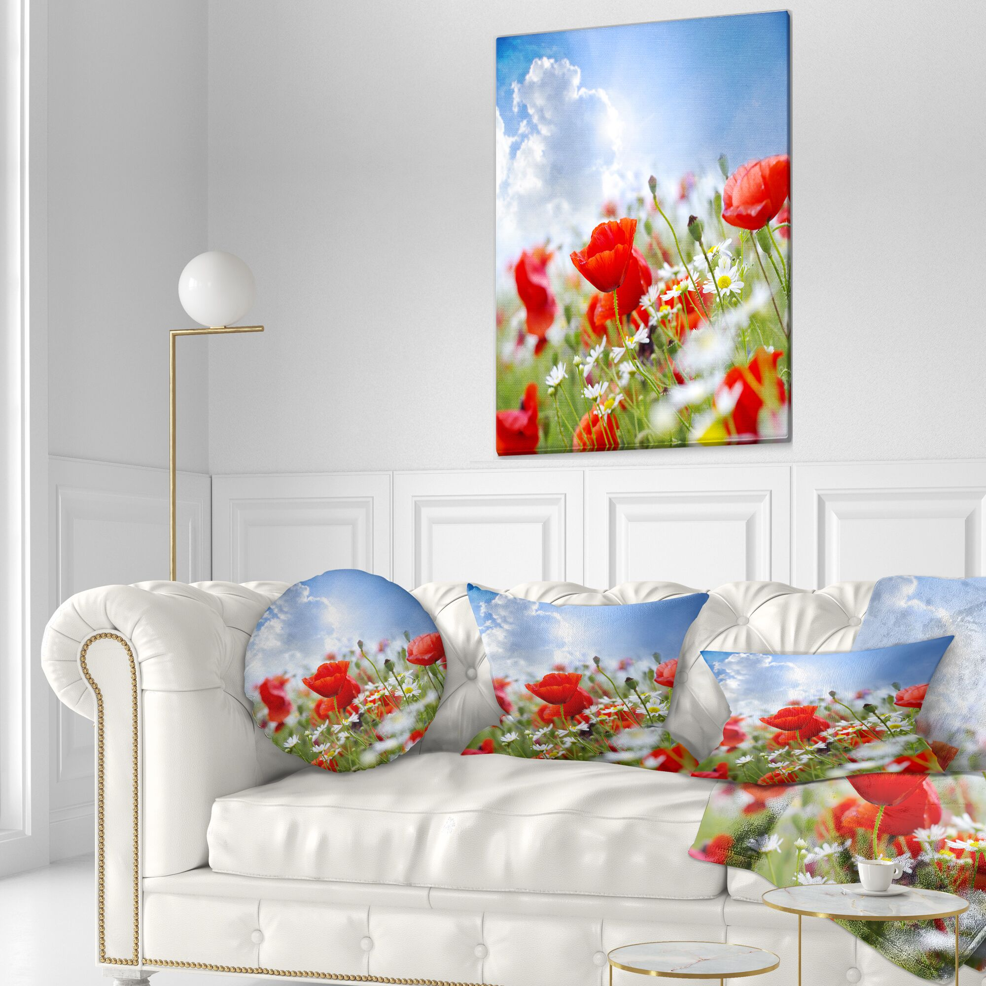 Floral Lovely Poppies on Sky Background Lumbar Pillow