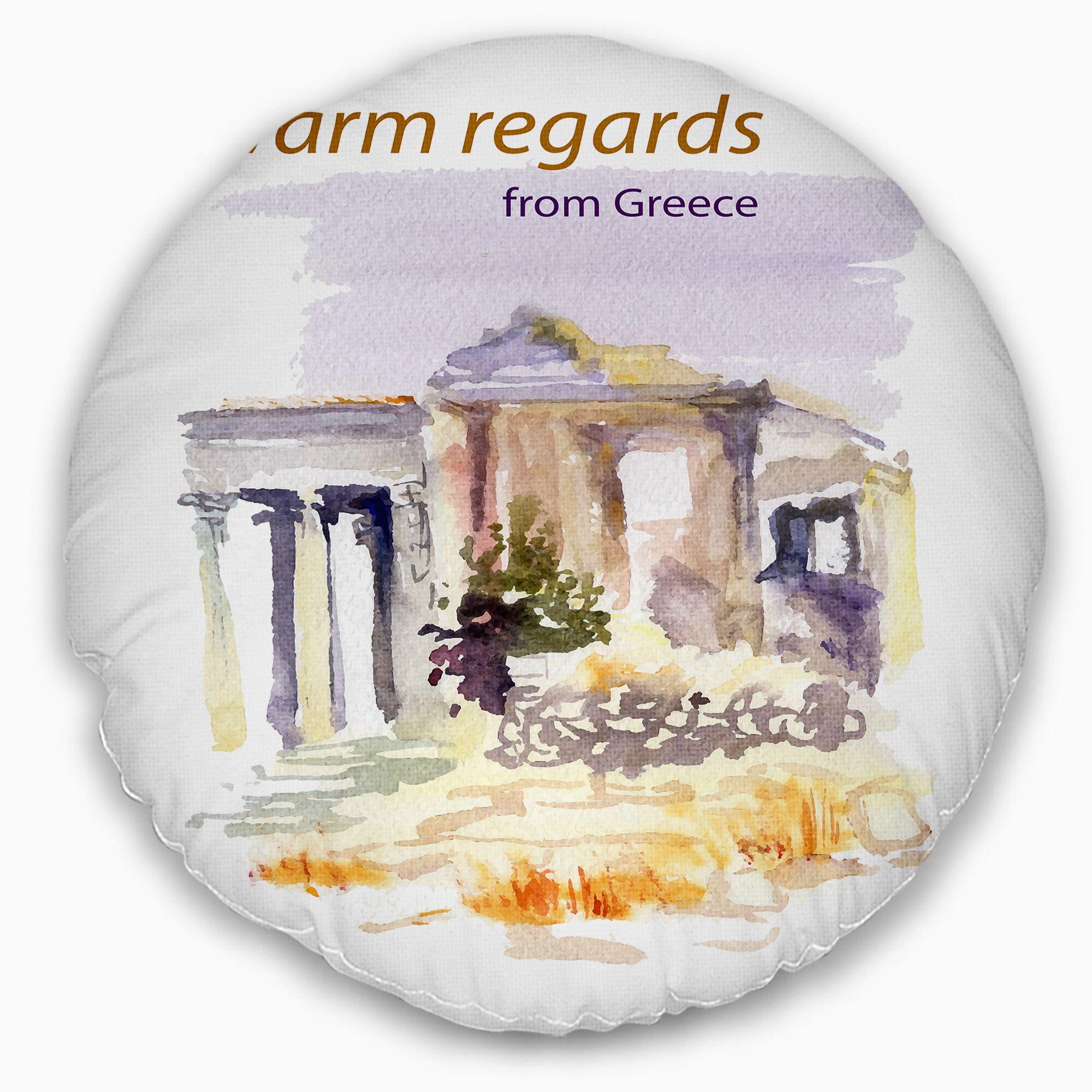 Cityscape Old Greece Vector Illustration Throw Pillow