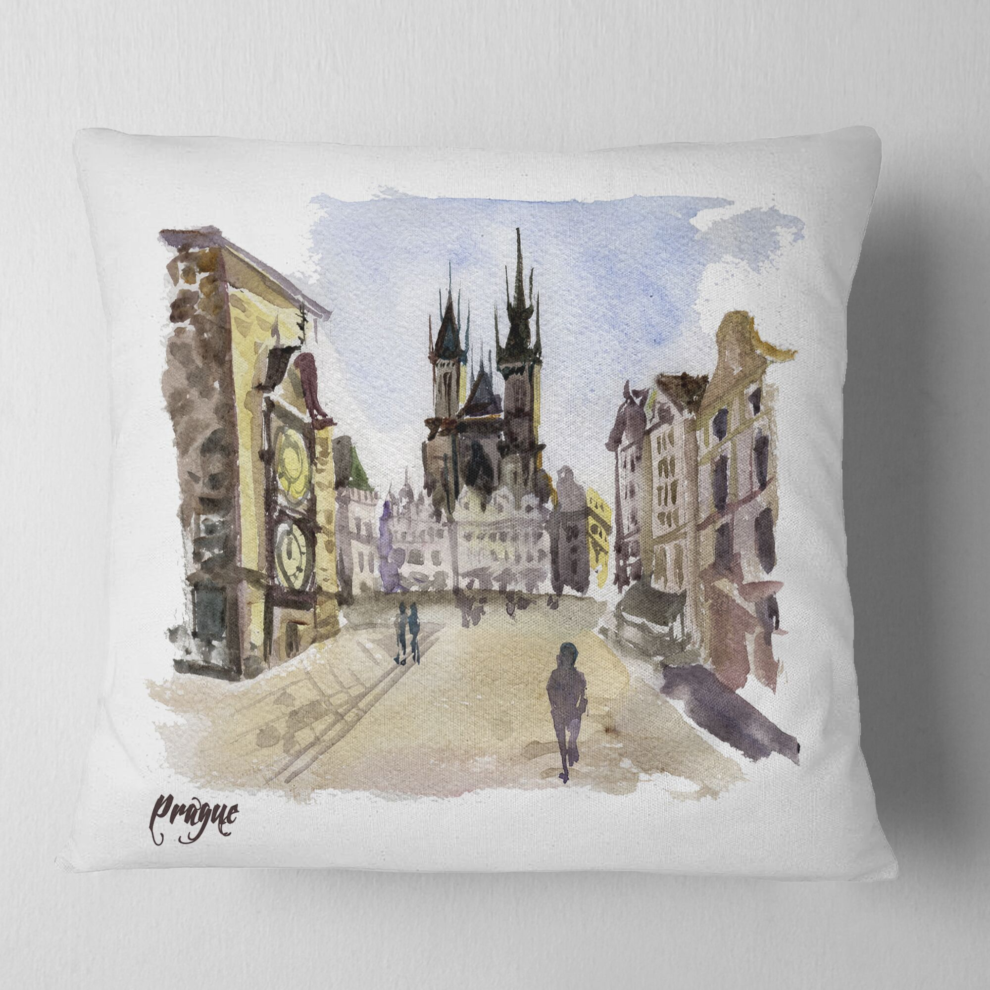 Cityscape Prague Hand Drawn Illustration Pillow Size: 18