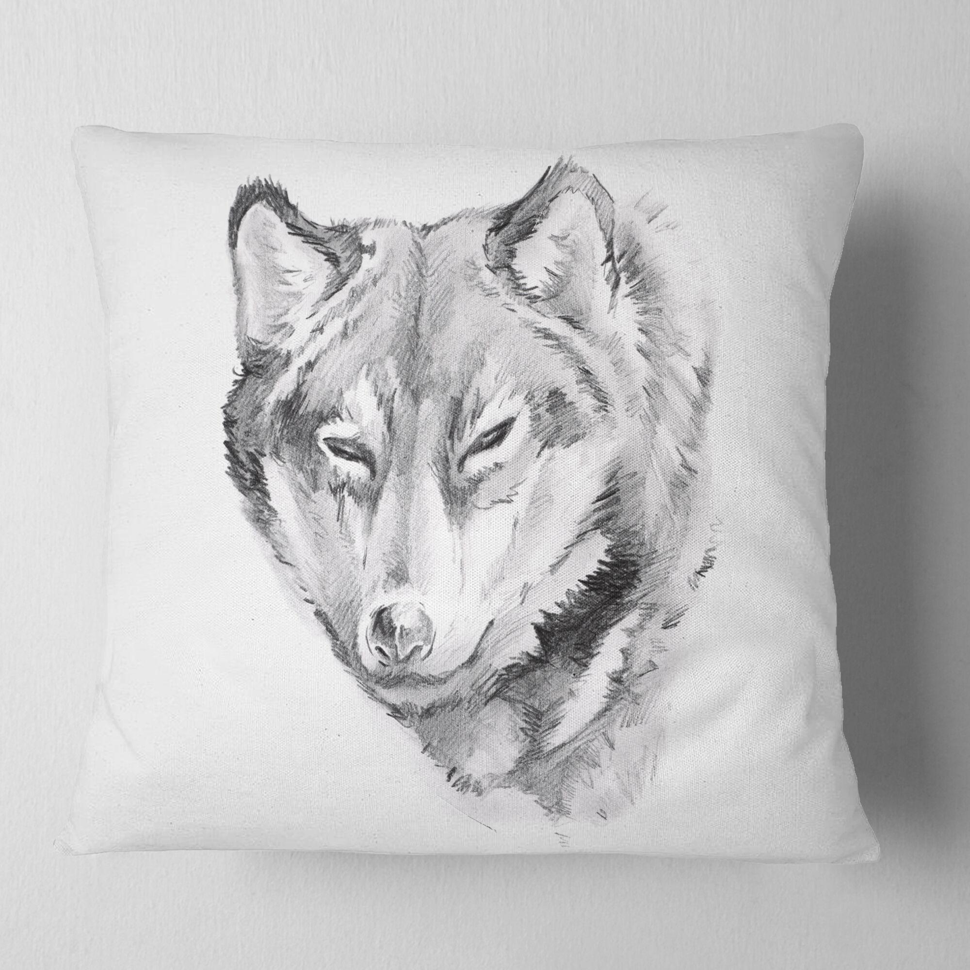 Animal Wolf Tattoo Art Pillow Size: 16