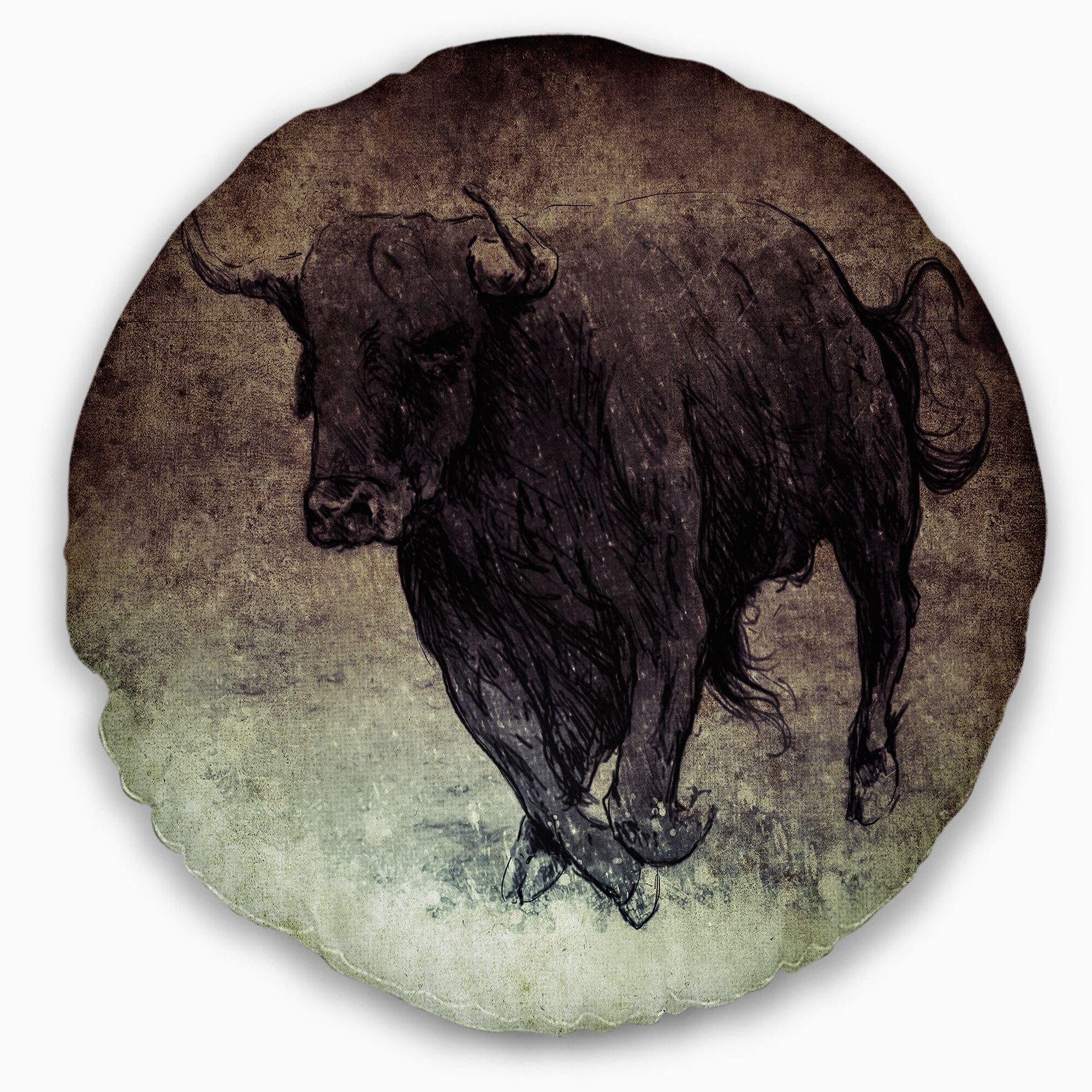 Animal Bull Running on Vintage Paper Throw Pillow