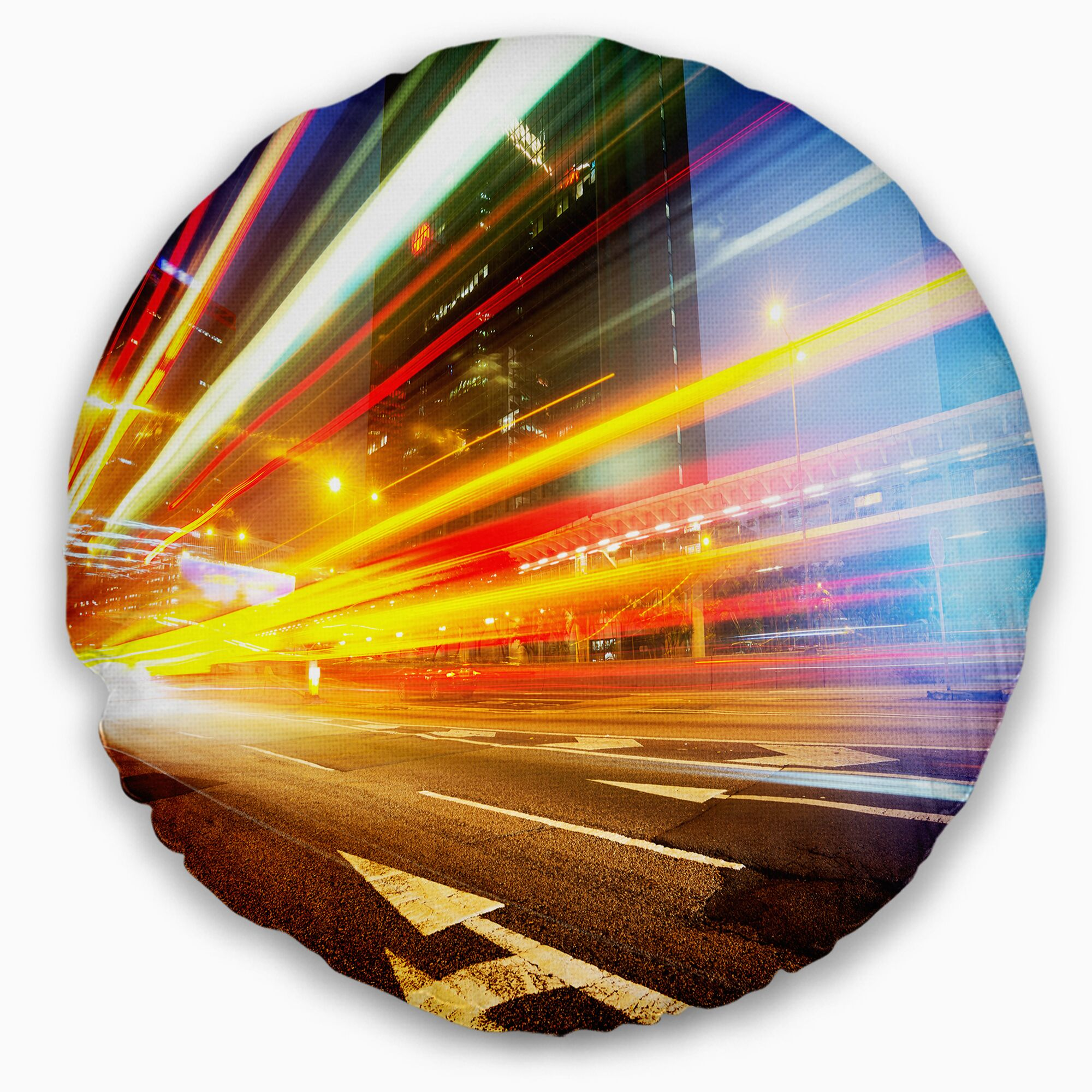 Cityscape Car Light Trails in Hong Kong Throw Pillow Size: 16