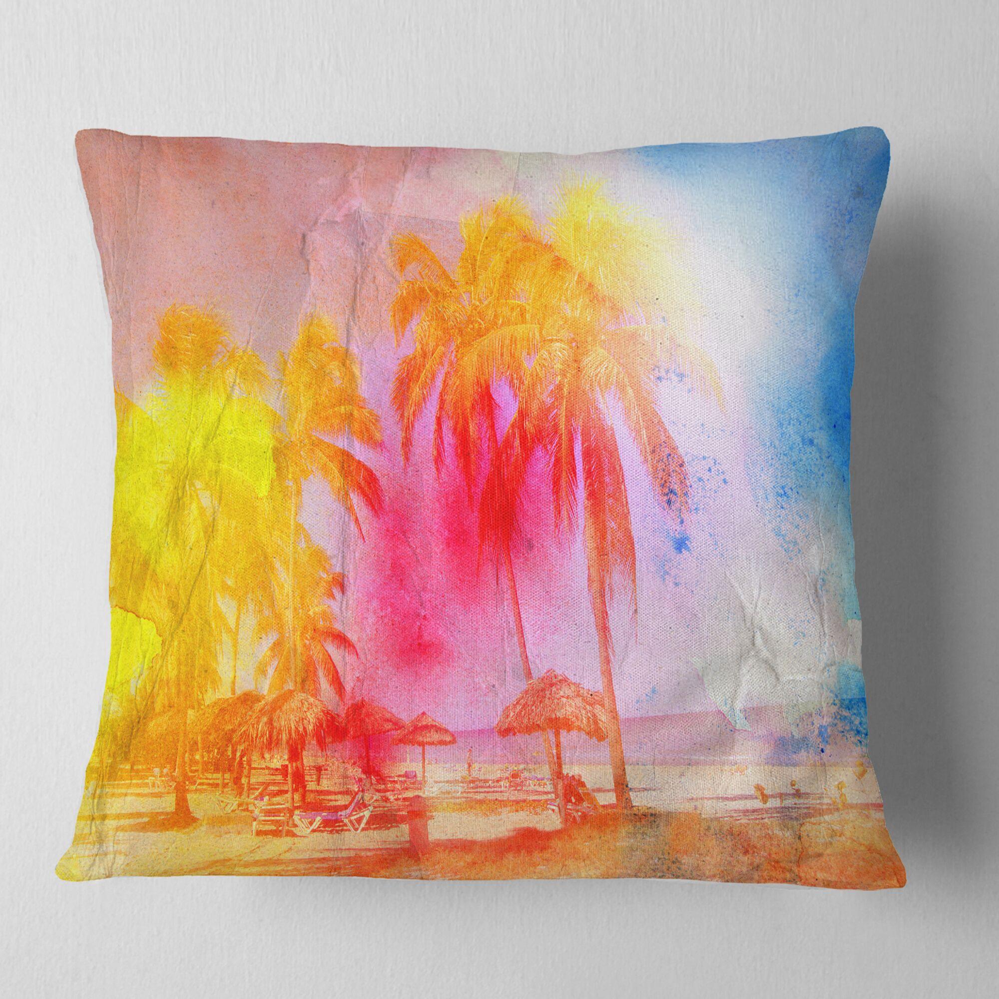 Retro Palms Watercolor Pillow Size: 18