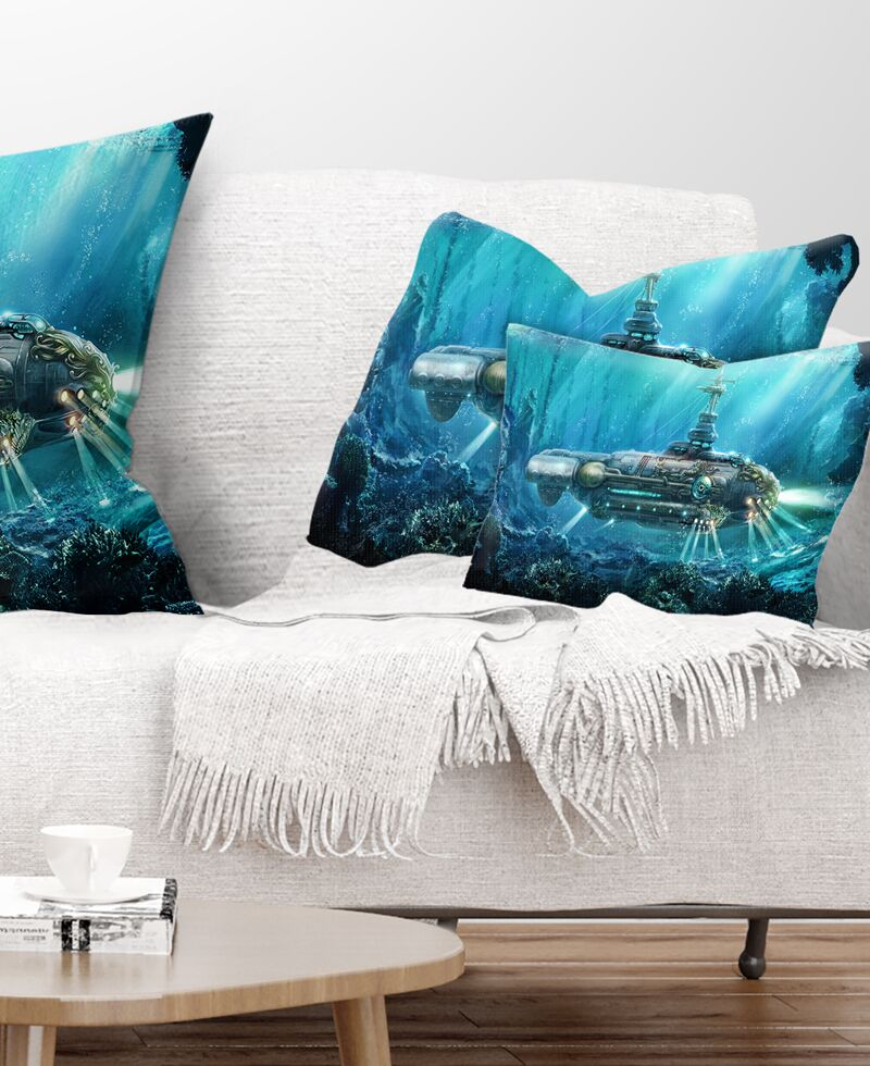 Abstract Fantastic Submarine Lumbar Pillow