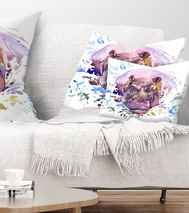 Animal Hippopotamus Watercolor Lumbar Pillow