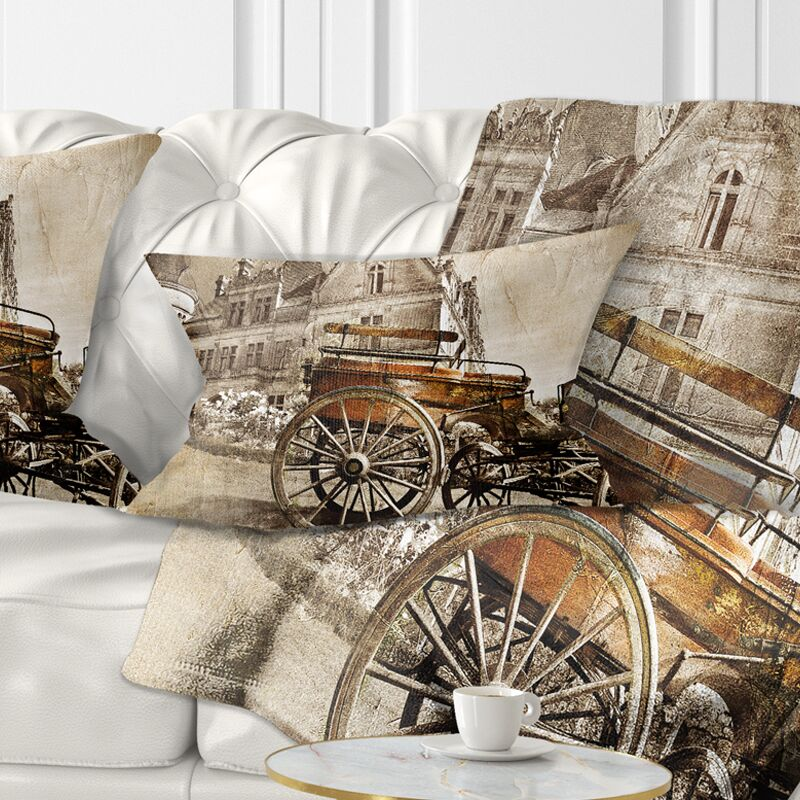 Medieval Castle with Carriage Lumbar Pillow