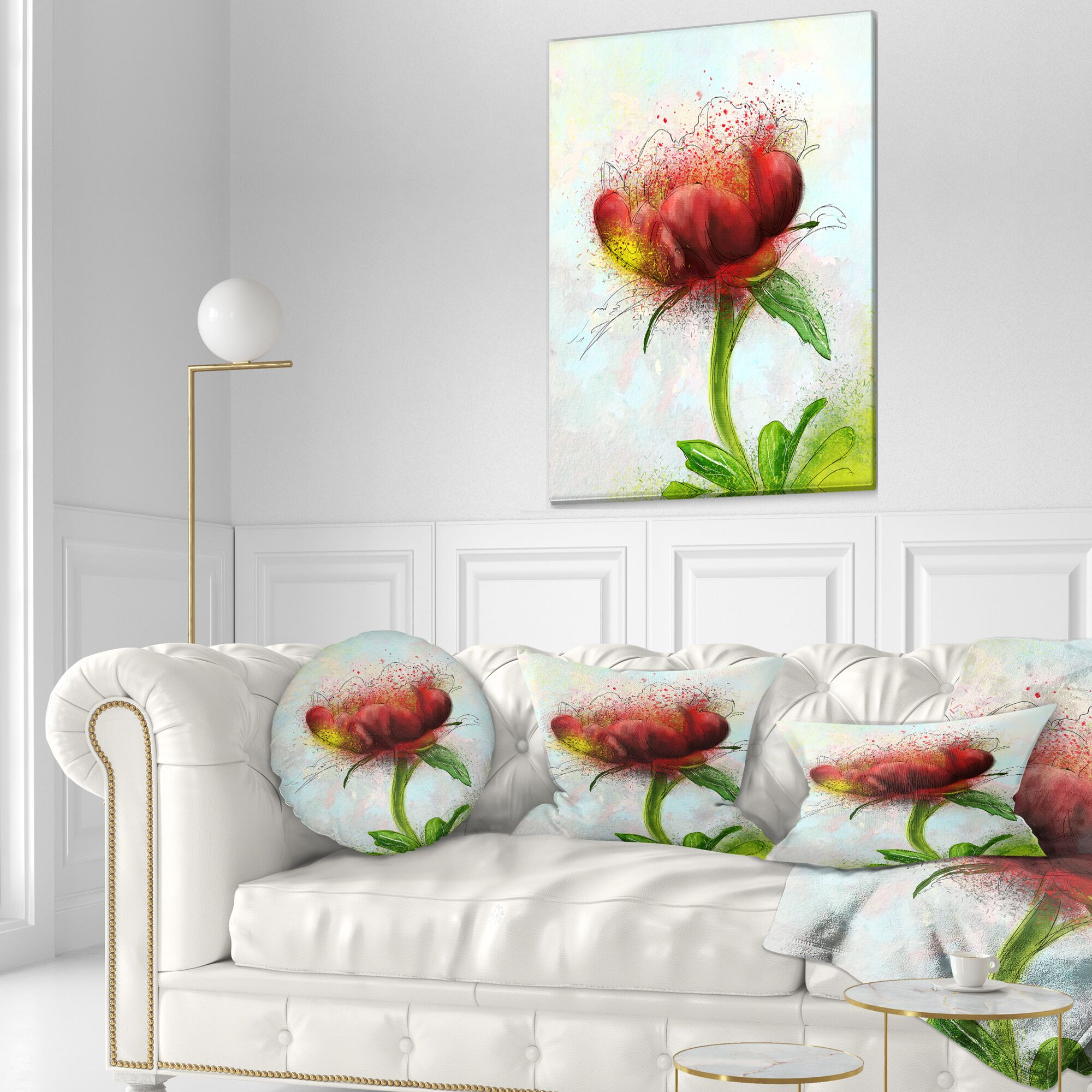 Floral Cute Watercolor Flower Throw Pillow Size: 16