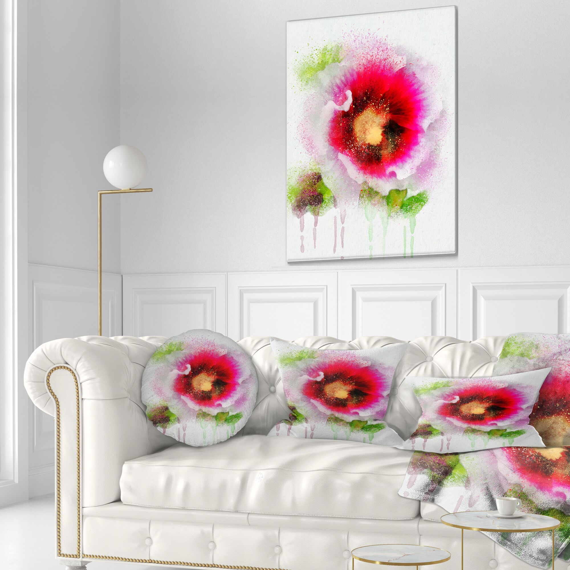 Floral Poppy with Watercolor Splashes Lumbar Pillow