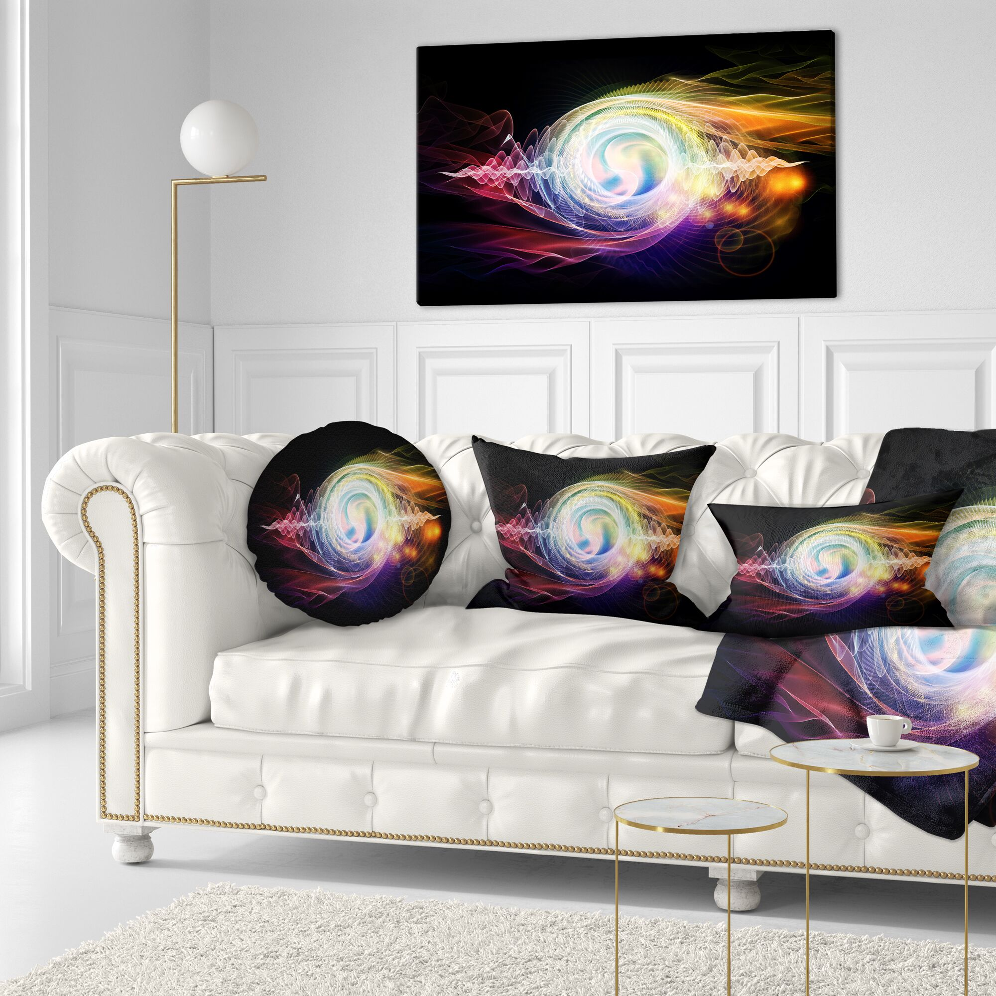 Abstract Bright Wave Particle in Air Lumbar Pillow