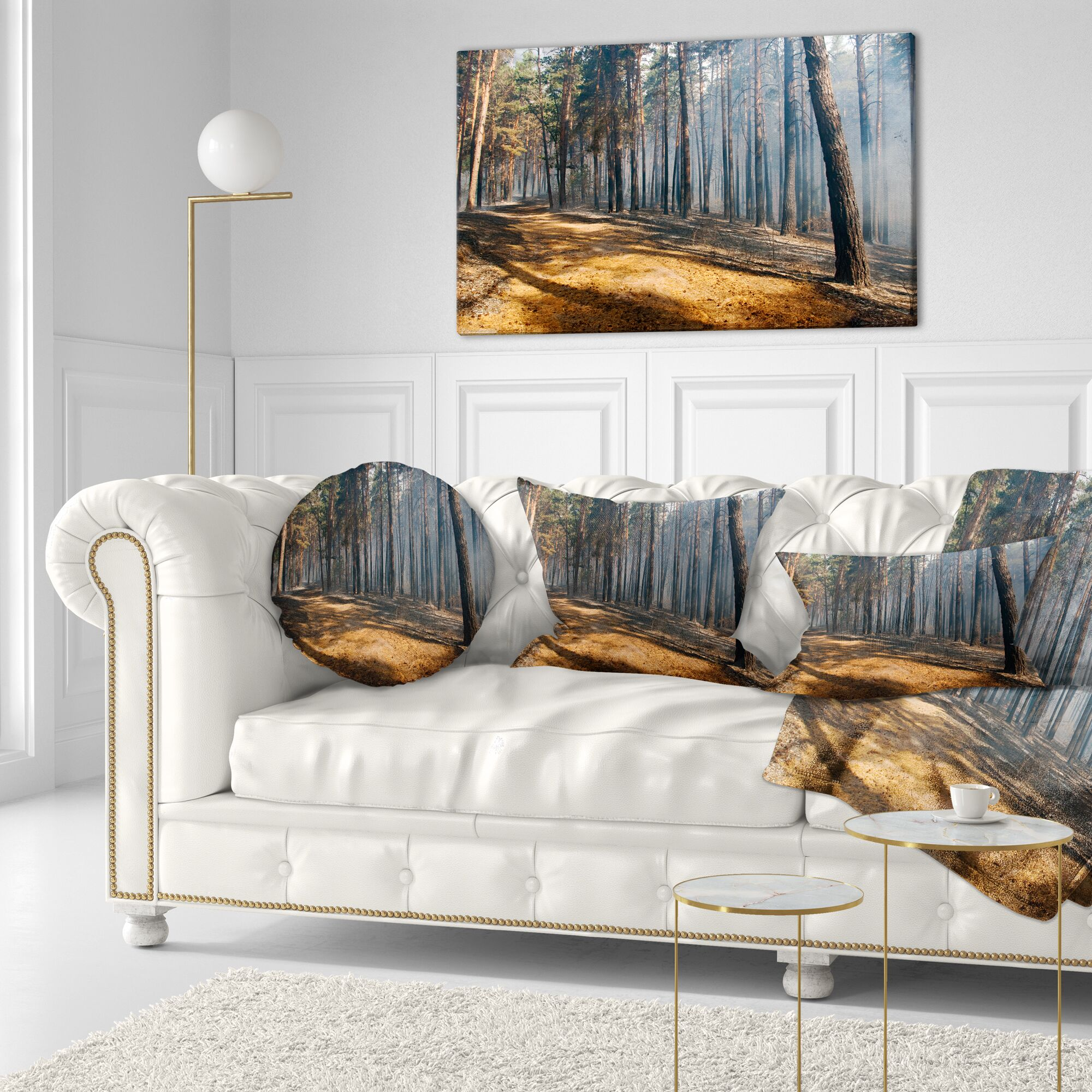 Forest Fire in with Flame and Smoke Lumbar Pillow