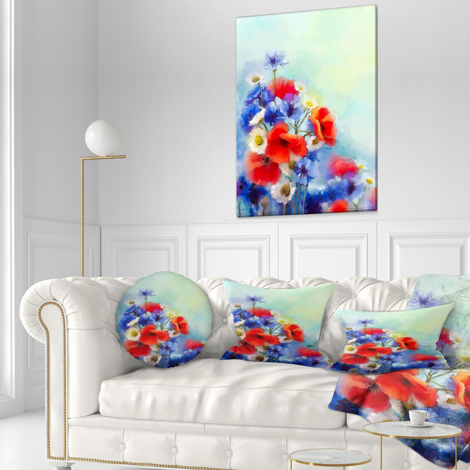 Floral Cornflower and Daisy Lumbar Pillow