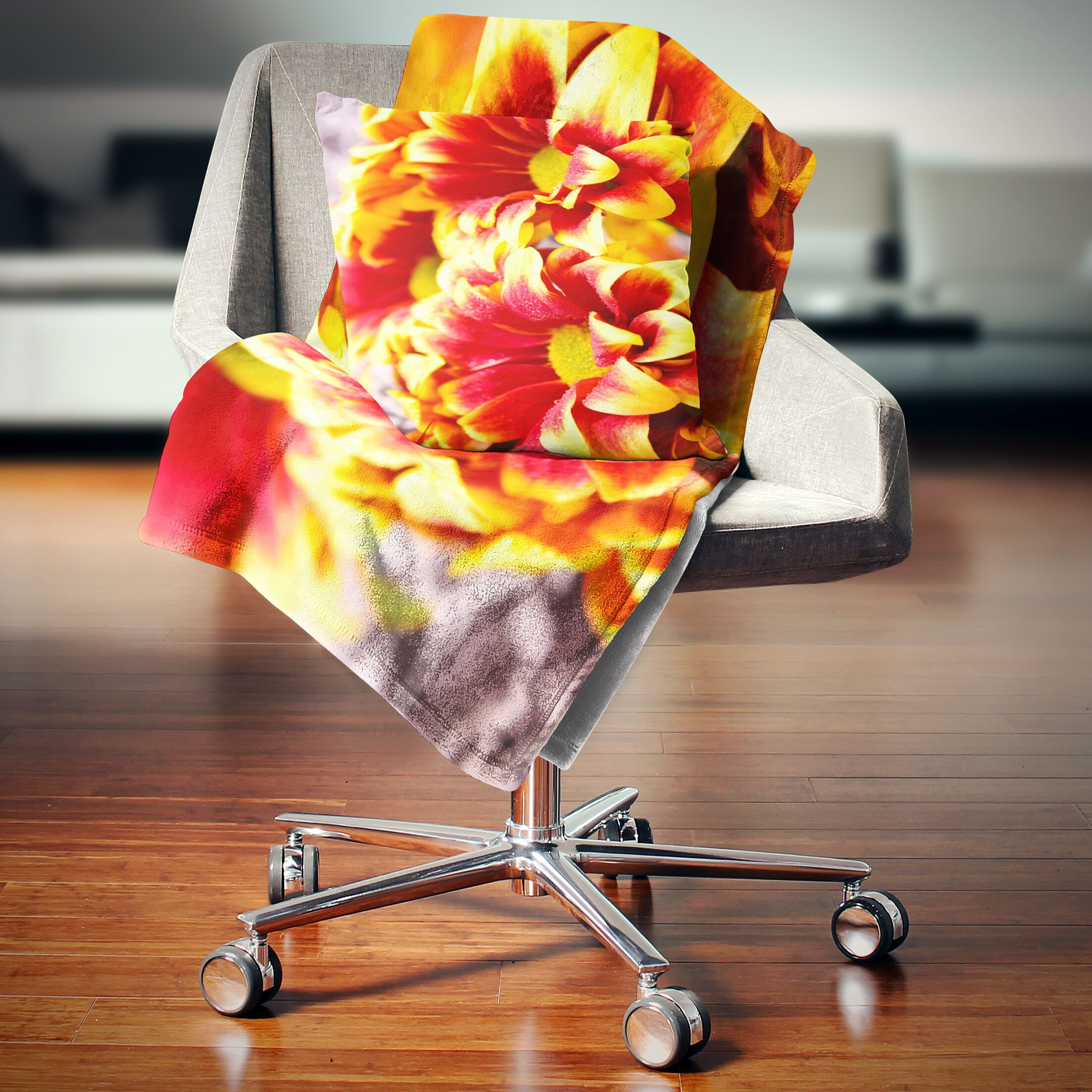 Floral Flower Background Photo Pillow Size: 16
